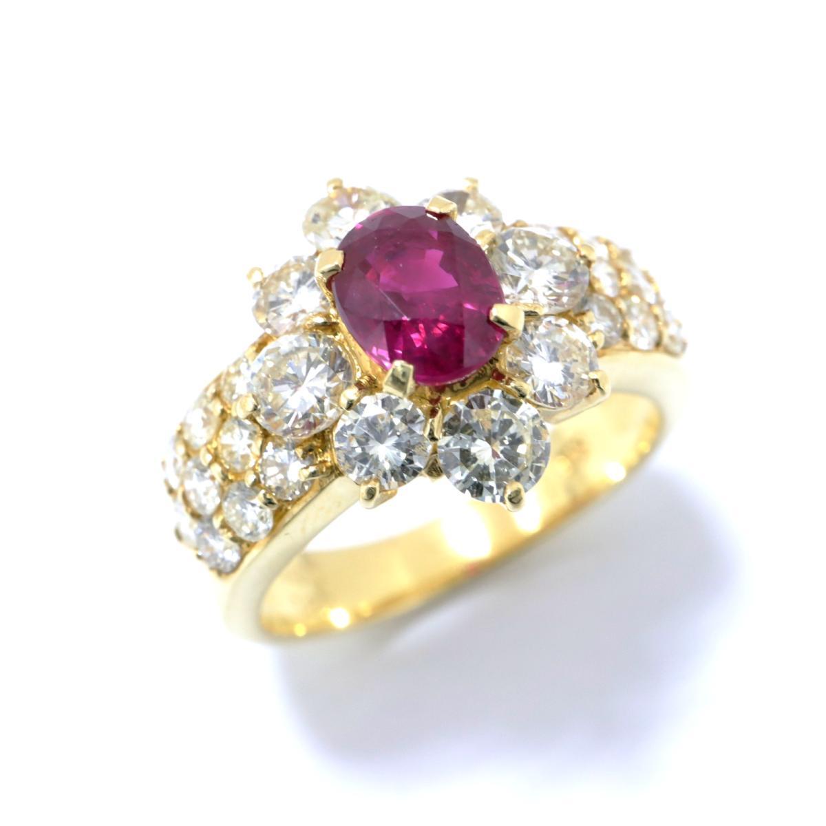 【中古】 ジュエリー ビルマ産 ルビー リング 指輪 レディース K18YG (750) イエローゴールド x (1.00ct) ダイヤモンド (1.80ct) レッド クリアー ゴールド | JEWELRY BRANDOFF ブランドオフ ブランド アクセサリー