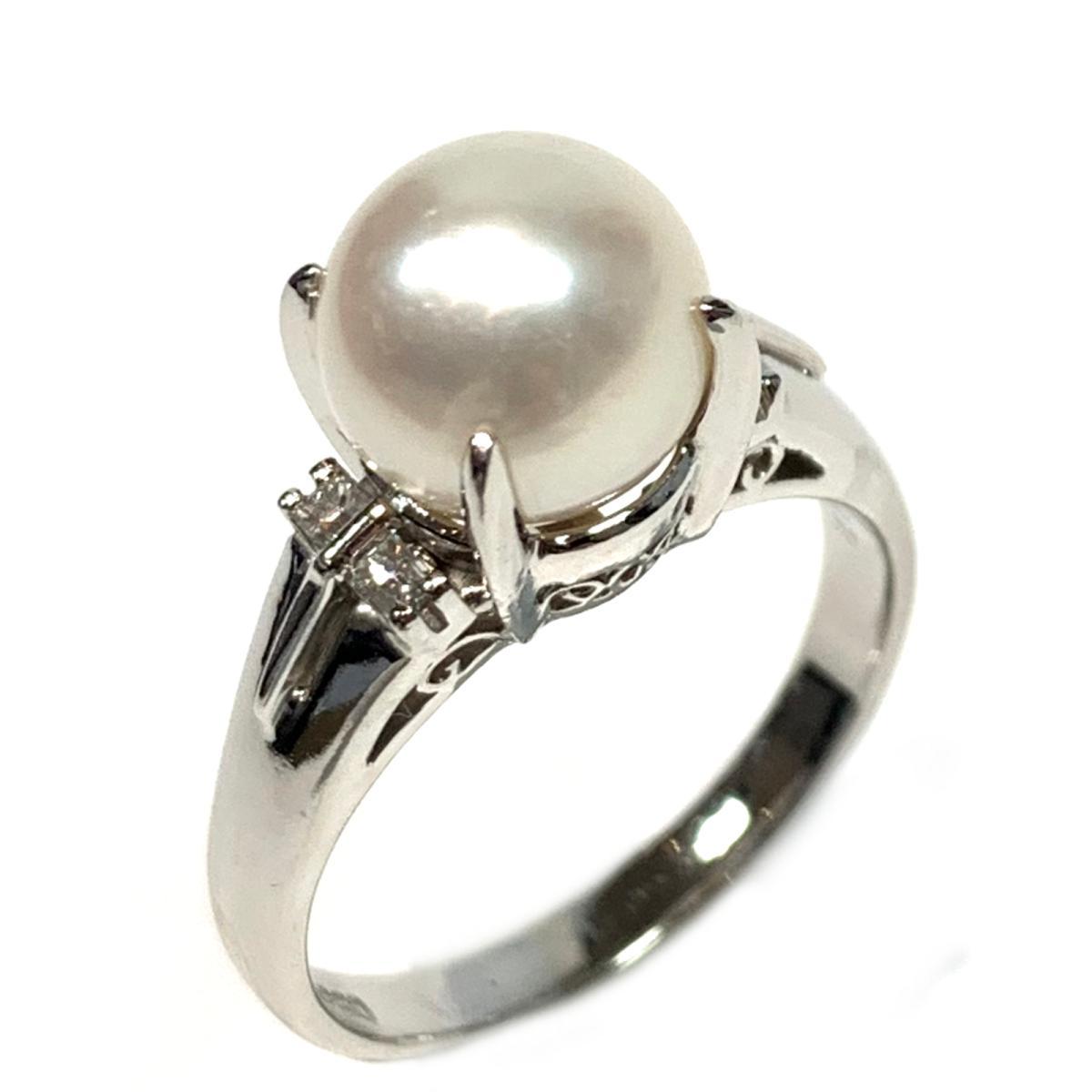 【中古】 ジュエリー パール ダイヤモンド リング 指輪 レディース PT850 プラチナ x パール8.5mm ダイヤ0.12ct ホワイト シルバー | JEWELRY BRANDOFF ブランドオフ ブランド アクセサリー
