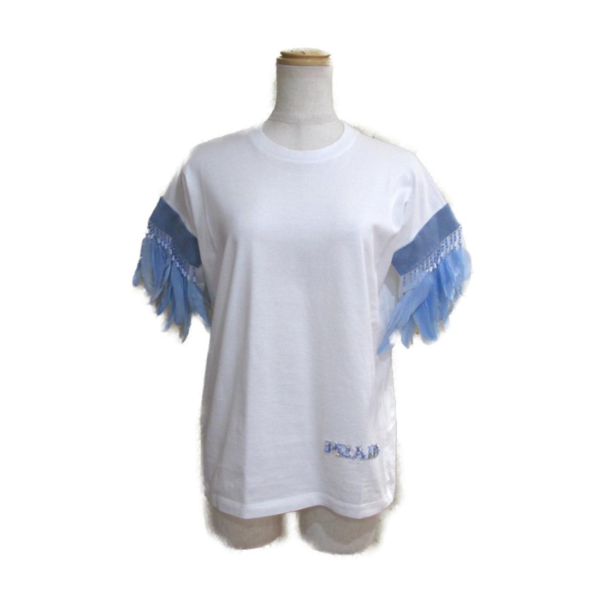 【中古】 プラダ 2017 Tシャツ レディース コットン100% ホワイト × ライトブルー | PRADA BRANDOFF ブランドオフ 衣料品 衣類 ブランド トップス シャツ カットソー