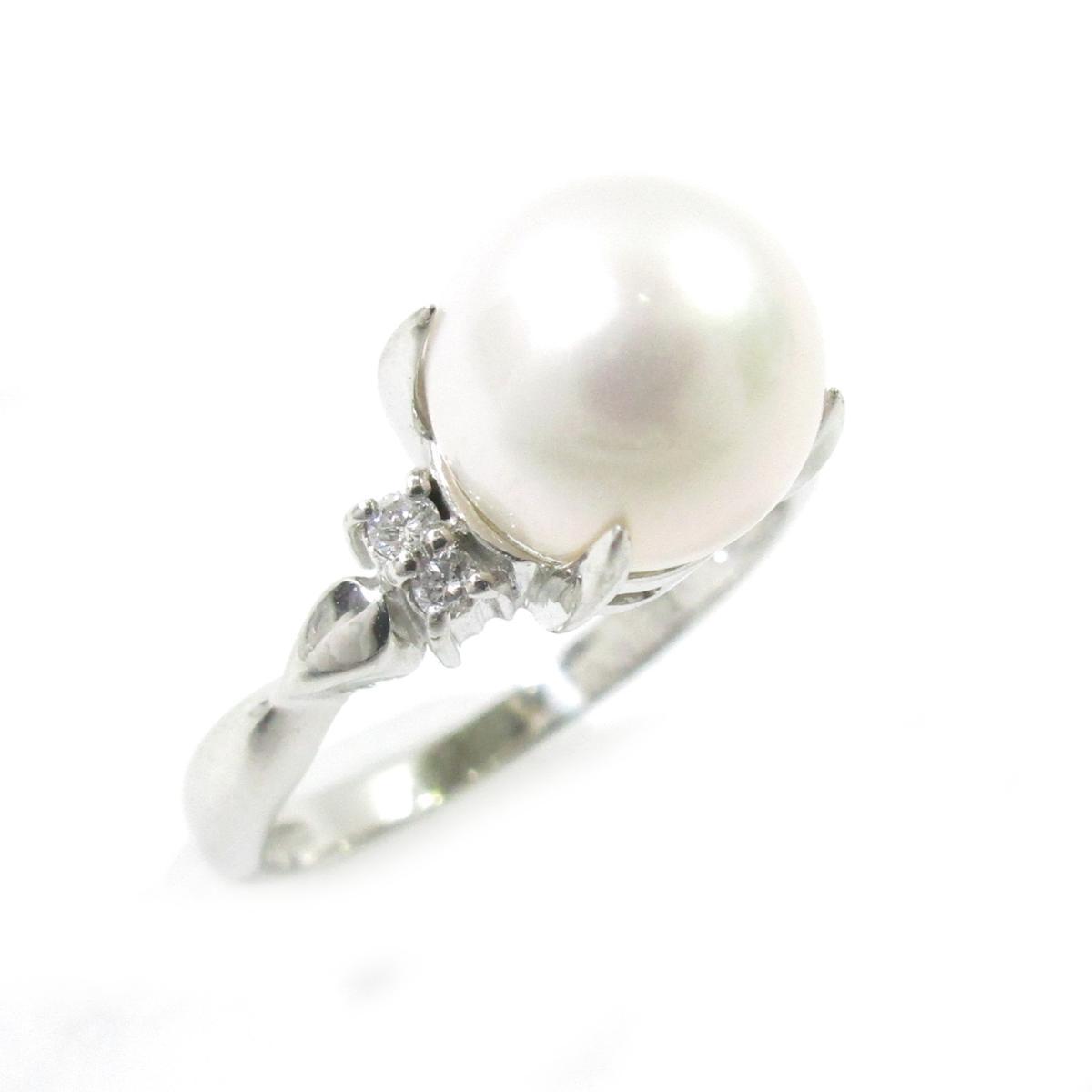 【中古】 ジュエリー パールリング 指輪 レディース PT900 プラチナ X パール ダイヤモンド0.06ct シルバー ホワイト | JEWELRY BRANDOFF ブランドオフ ブランド アクセサリー リング