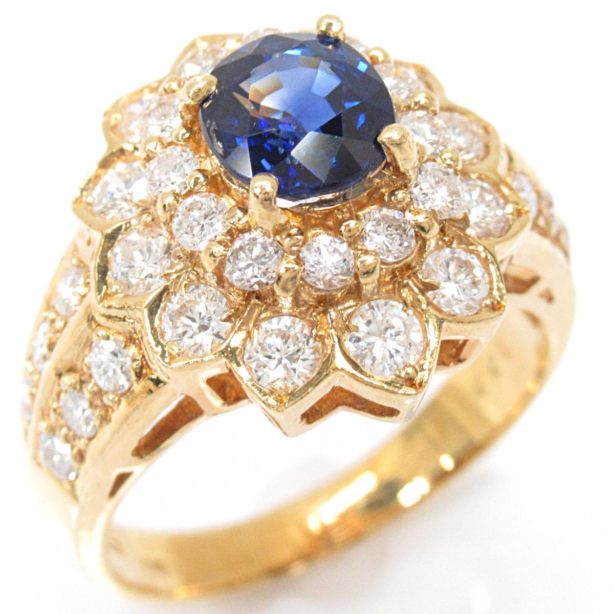 【中古】 ジュエリー サファイア リング 指輪 レディース K18YG (750) イエローゴールド x (1.25ct) ダイヤモンド (1.22ct)   JEWELRY BRANDOFF ブランドオフ ブランド アクセサリー