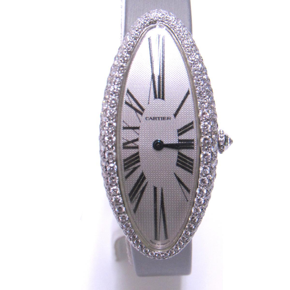 【中古】 カルティエ ベニュワール アロンジェ ウォッチ 時計 レディース K18WG (750) ホワイトゴールド × ダイヤモンド グレー | Cartier BRANDOFF ブランドオフ ブランド ブランド時計 ブランド腕時計 腕時計
