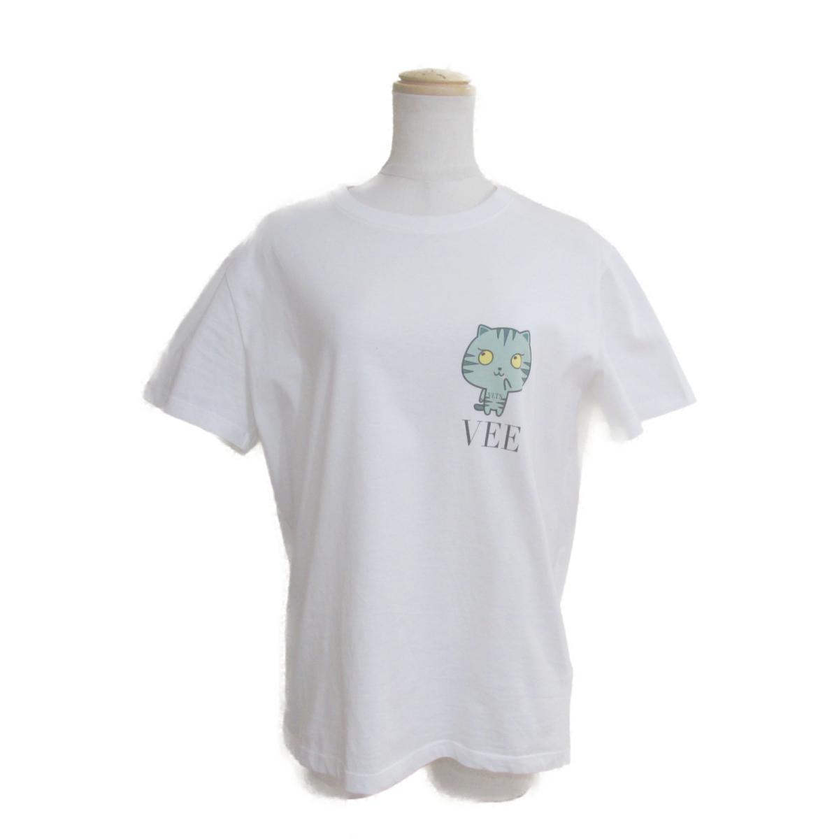 【中古】 ヴァレンチノ Tシャツ メンズ レディース コットン100% ホワイト × グリーン   VALENTINO BRANDOFF ブランドオフ 衣料品 衣類 ブランド トップス シャツ カットソー