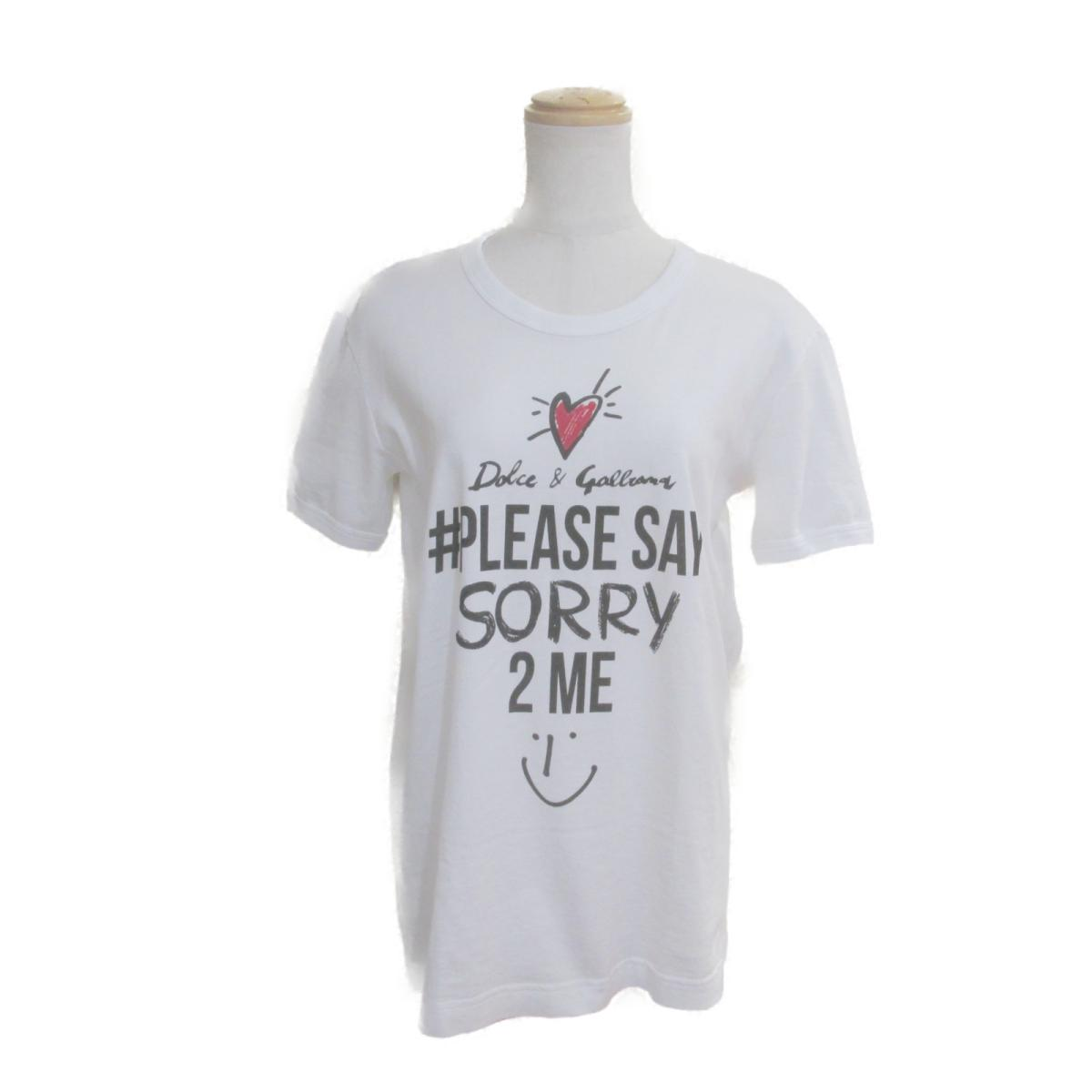 【中古】 ドルチェ&ガッバーナ Tシャツ レディース コットン100% ホワイト × ブラック レッド | Dolce & Gabbana BRANDOFF ブランドオフ 衣料品 衣類 ブランド トップス シャツ カットソー