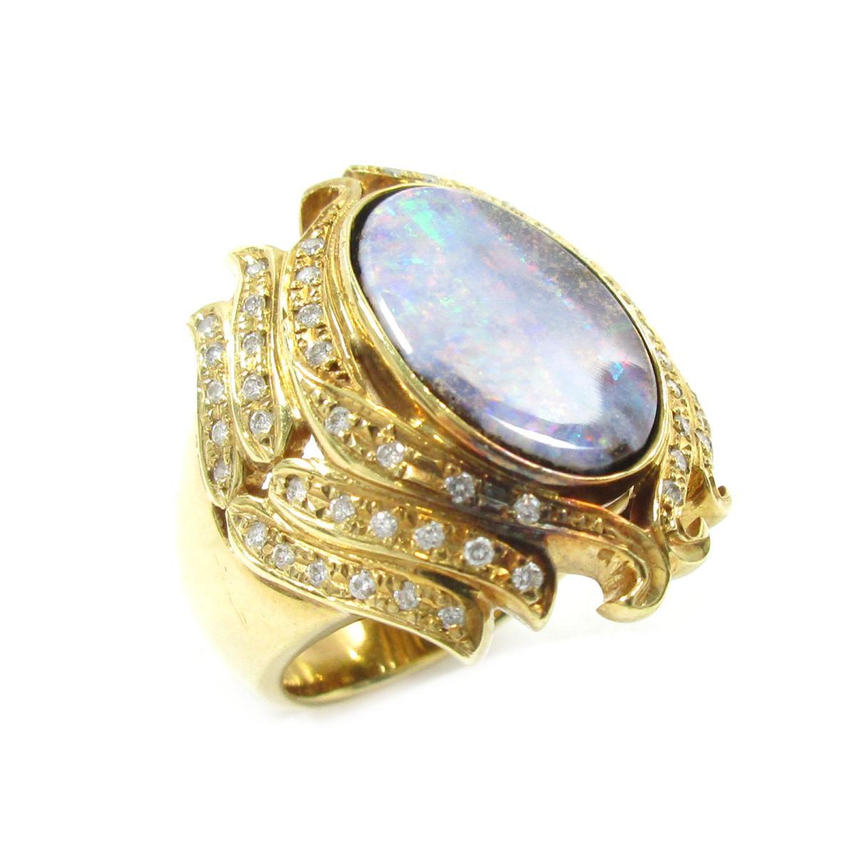 【中古】 ジュエリー オパールリング 指輪 レディース K18YG (750) イエローゴールド X オパール4.91ct ダイヤモンド0.31ct ゴールド パープル | JEWELRY BRANDOFF ブランドオフ アクセサリー リング