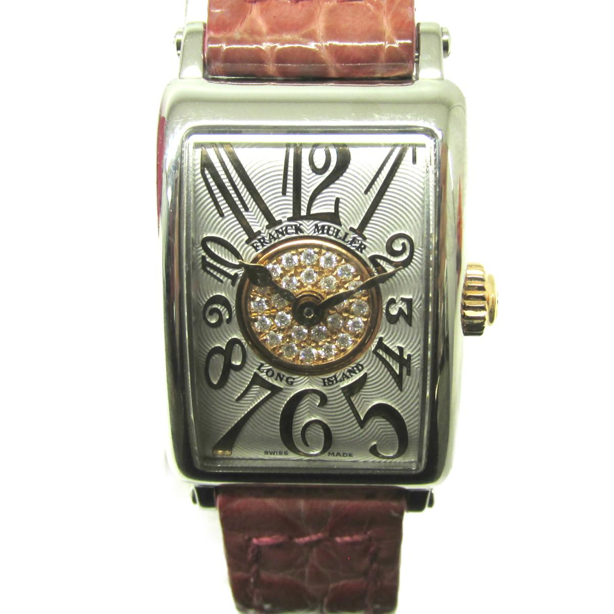 ≪期間限定≫メルマガ登録でクーポンGET! 【中古】 フランク・ミュラー ロングアイランド 腕時計 ウォッチ レディース ステンレススチール (SS) クロコベルト (802QZ)   FRANCK MULLER BRANDOFF ブランドオフ ブランド ブランド時計 ブランド腕時計 時計