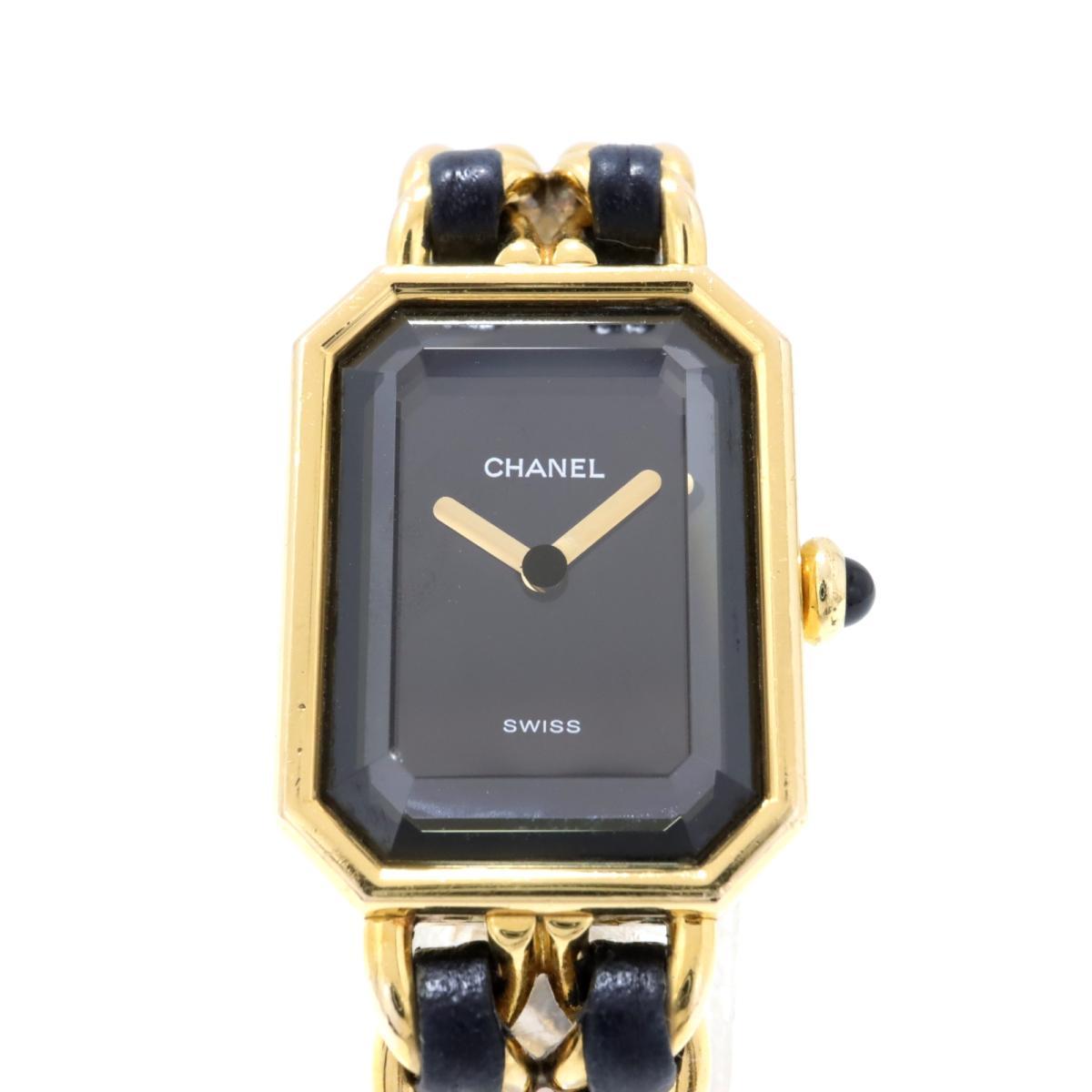 【中古】 シャネル プルミエールM 腕時計 レディース GP 革 ゴールド ブラック | CHANEL BRANDOFF ブランドオフ ブランド ブランド時計 ブランド腕時計 時計 ウォッチ