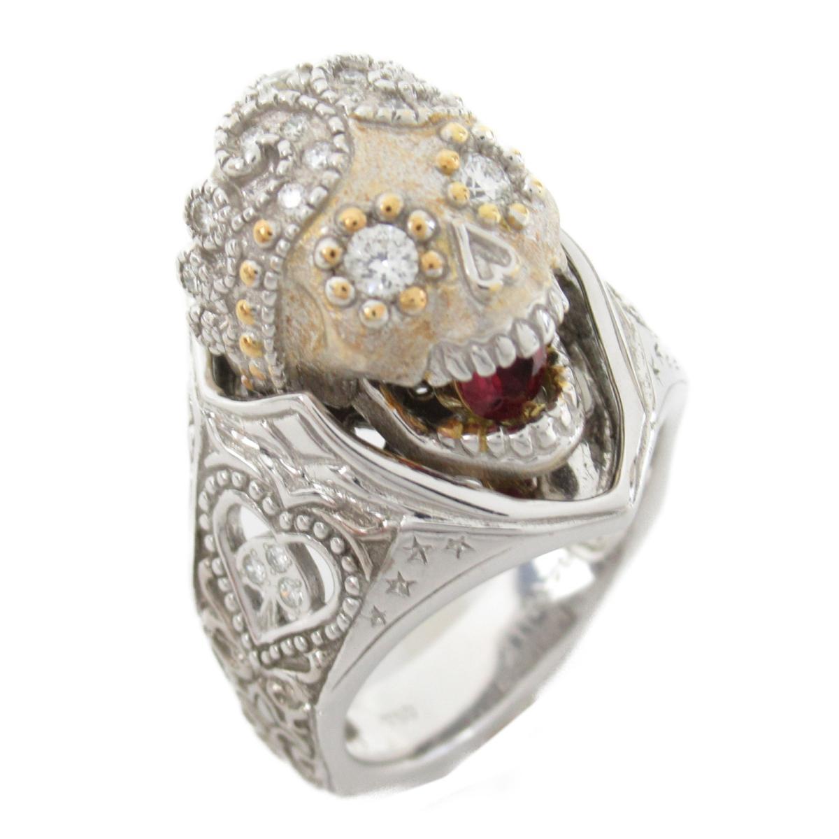 【中古】 ジュエリー 梶光夫 スカル ダイヤモンド リング 指輪 メンズ レディース K18WG (750) ホワイトゴールド x ダイヤモンド0.25ct | JEWELRY BRANDOFF ブランドオフ アクセサリー