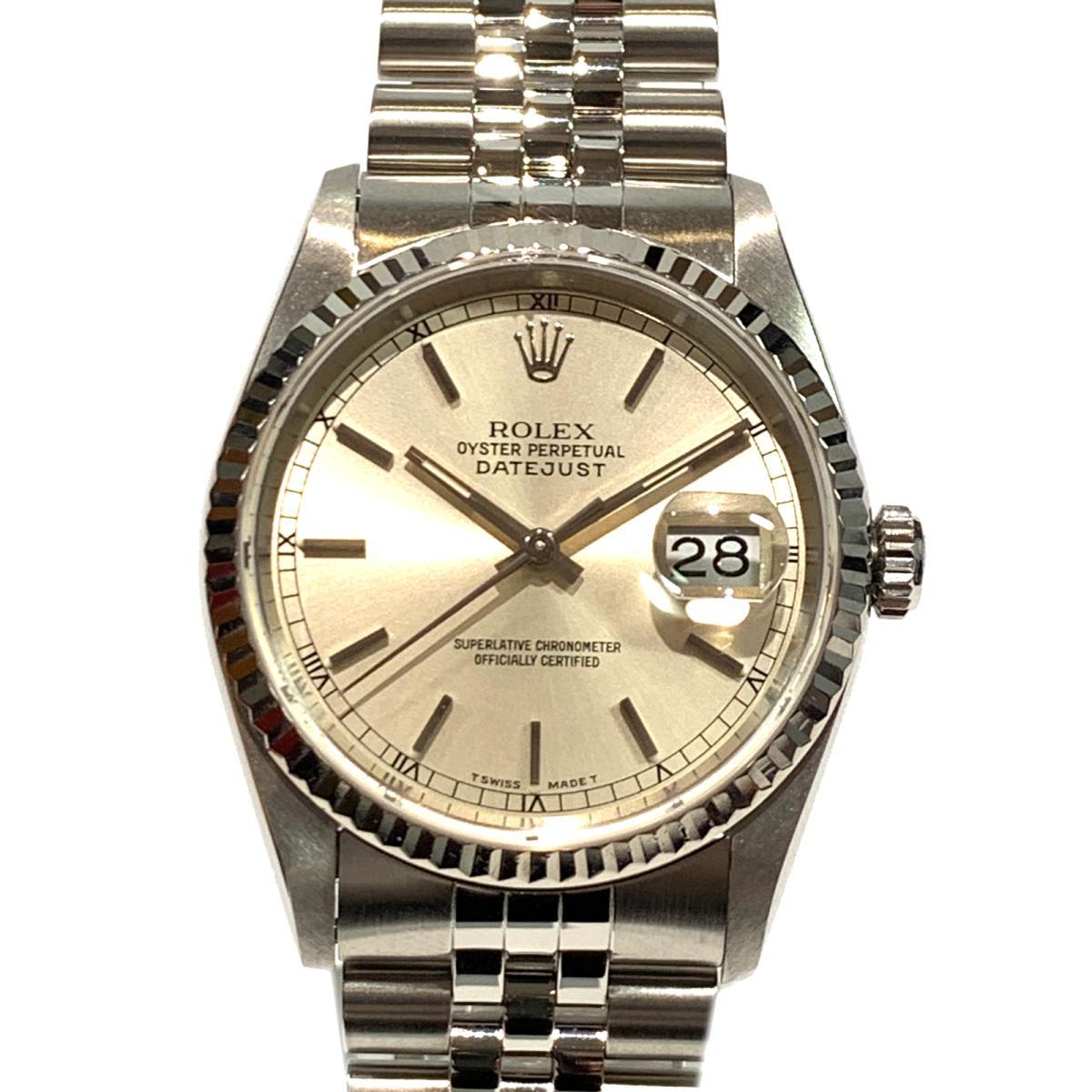≪期間限定≫メルマガ登録でクーポンGET! 【中古】 ロレックス デイトジャスト 腕時計 ウォッチ メンズ ステンレススチール (SS) × K18WG (750) ホワイトゴールド シルバー (16234) | ROLEX BRANDOFF ブランドオフ ブランド ブランド時計 ブランド腕時計 時計