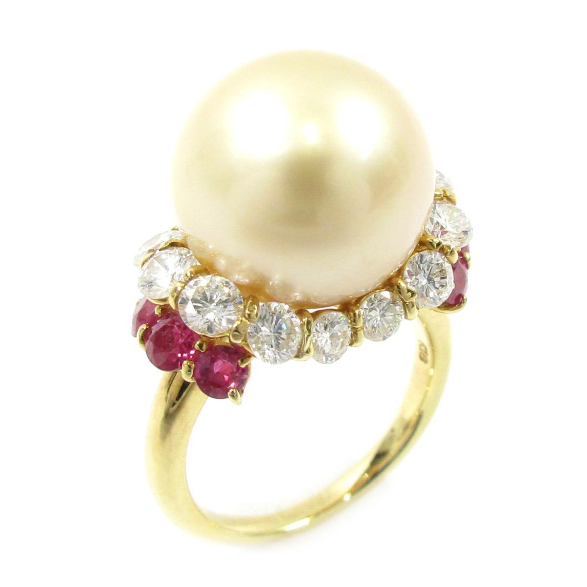 【中古】 ジュエリー パールリング 指輪 レディース K18YG (750) イエローゴールド X パール14.5mm ダイヤモンド1.73ct ルビー1.30ct ゴールド | JEWELRY BRANDOFF ブランドオフ アクセサリー リング
