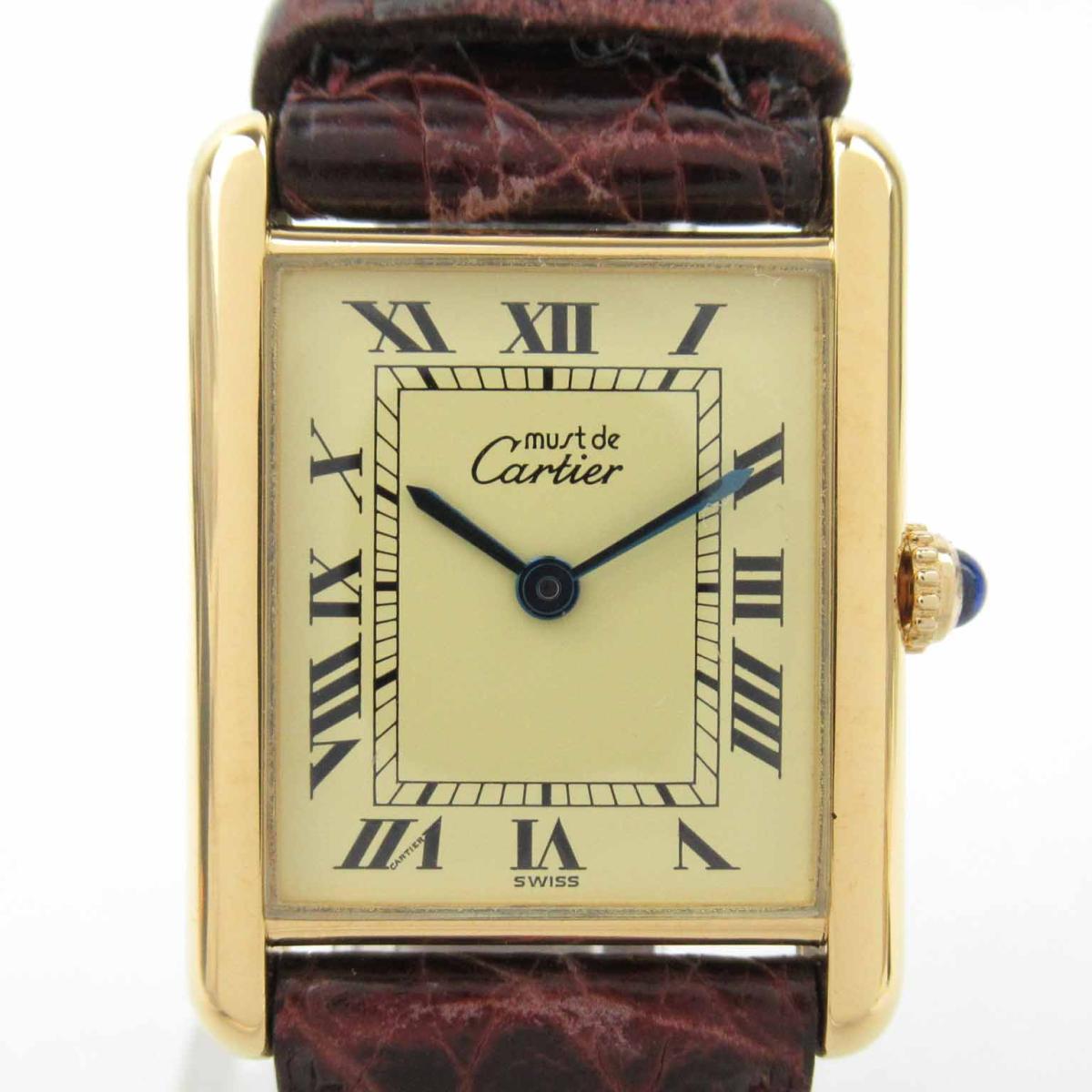 ≪期間限定≫メルマガ登録でクーポンGET! 【中古】 カルティエ マストタンク ヴェルメイユ ウォッチ 腕時計 レディース SV レザーベルト | Cartier BRANDOFF ブランドオフ ブランド ブランド時計 ブランド腕時計 時計