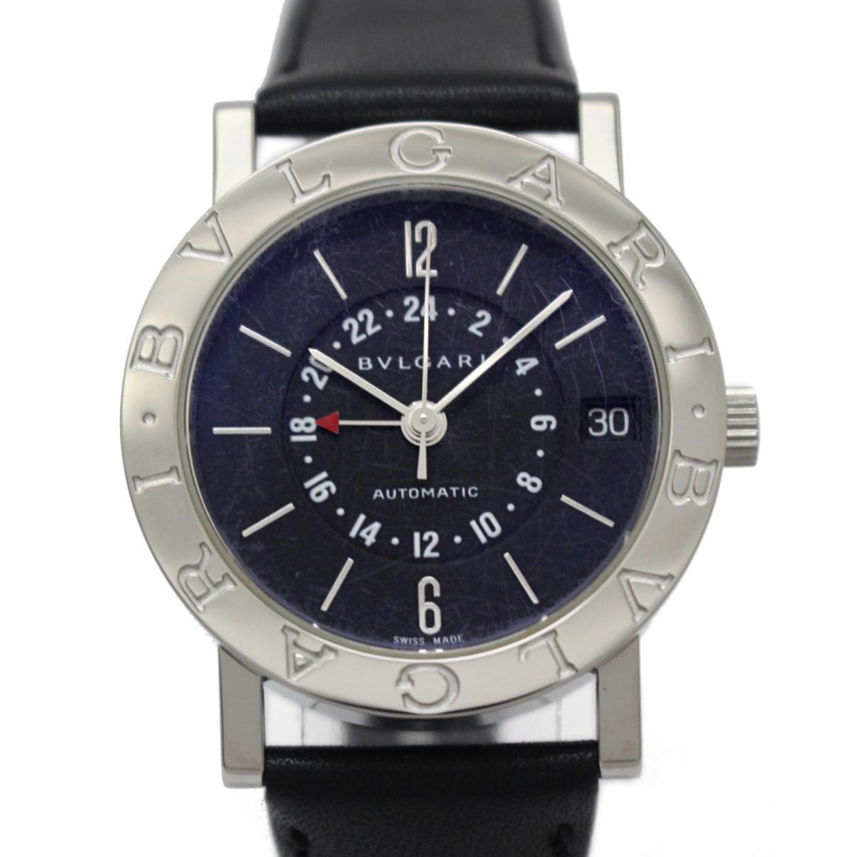 【中古】 ブルガリ ブルガリGMT ボーイズウォッチ メンズ レディース 腕時計 ステンレススチール (SS) レザーベルト ブラック (BB33SLGMT) | BVLGARI BRANDOFF ブランドオフ ブランド ブランド時計 ブランド腕時計
