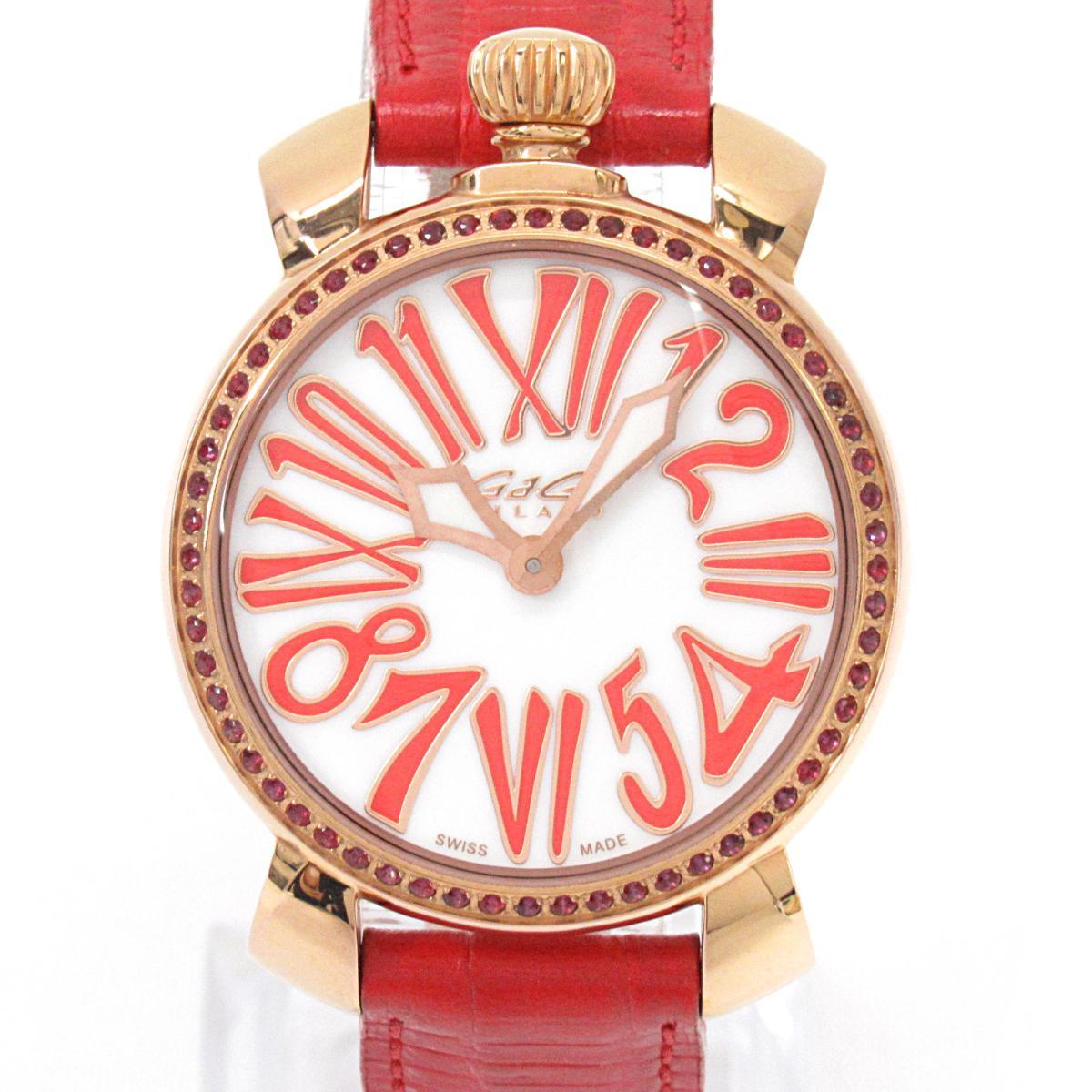 ≪期間限定≫メルマガ登録でクーポンGET! 【中古】 ガガミラノ マヌアーレ 腕時計 ウォッチ レディース ステンレススチール (SS) レザーベルト (6026) | GaGa MILANO BRANDOFF ブランドオフ ブランド ブランド時計 ブランド腕時計 時計