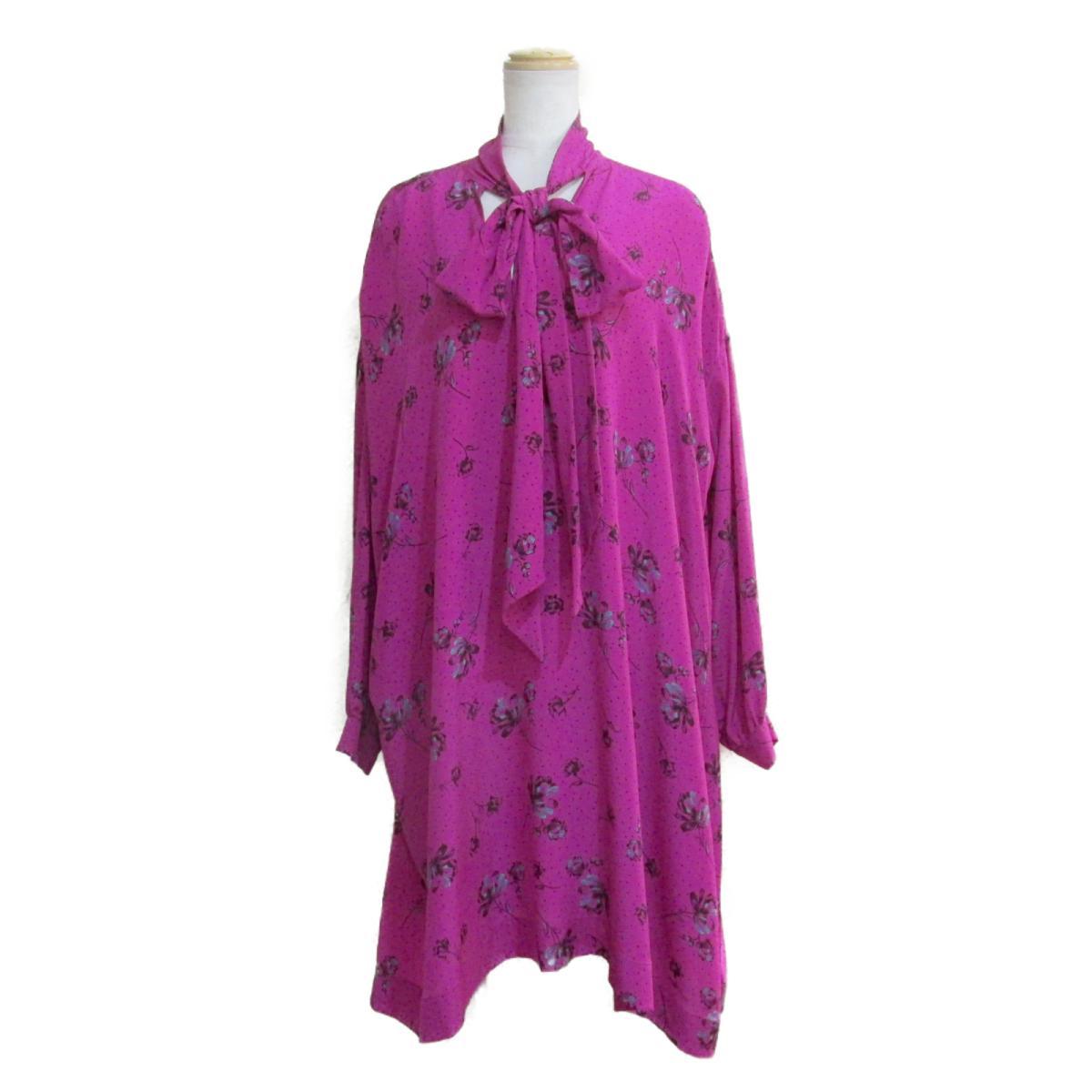 【中古】 バレンシアガ ワンピース レディース シルク100% ピンク × ブラック ライトブルー | BALENCIAGA BRANDOFF ブランドオフ 衣料品 衣類 ブランド
