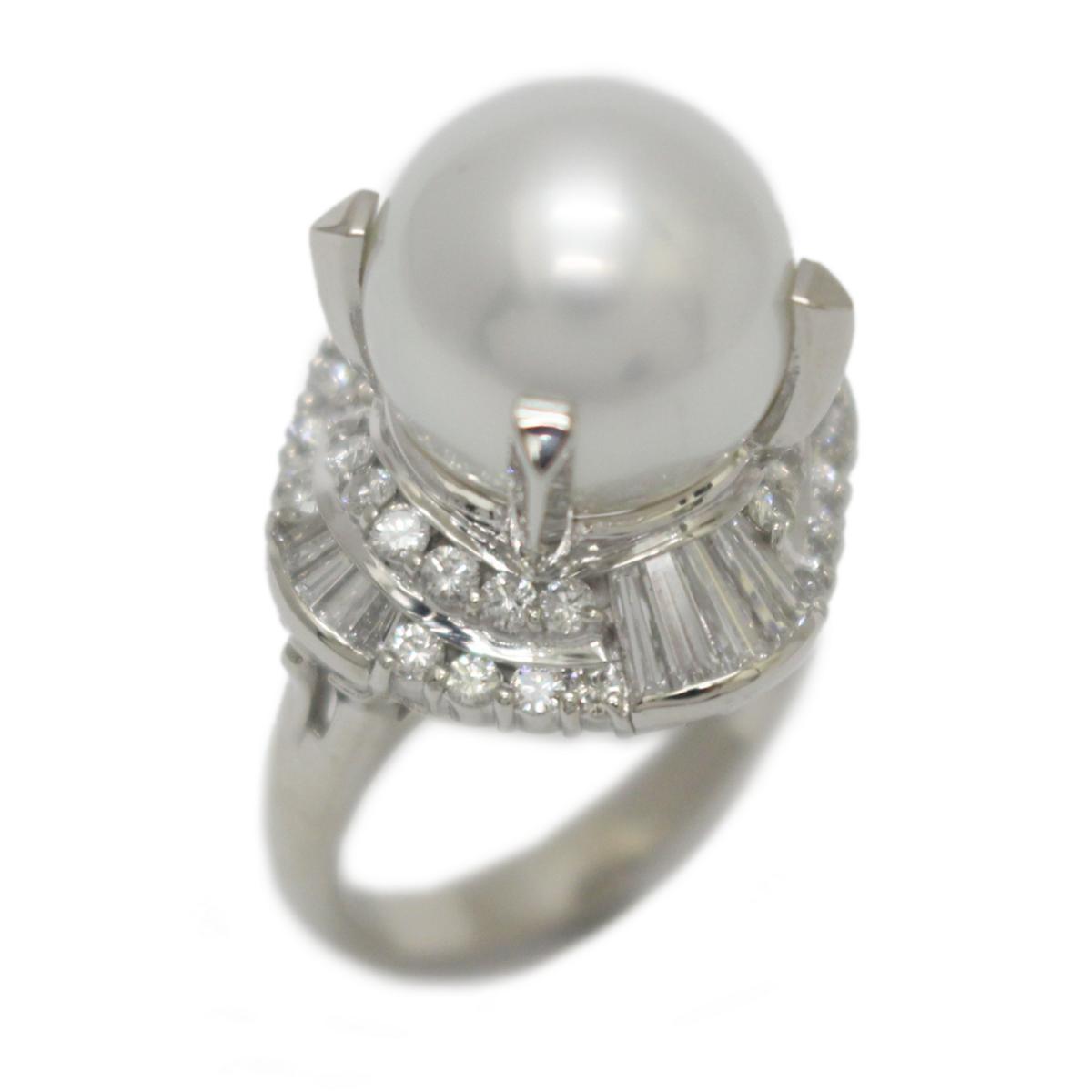 【中古】 ジュエリー パール ダイヤモンド リング 指輪 レディース PT900 プラチナ x (12mm) (1.32ct) ホワイト クリアー | JEWELRY BRANDOFF ブランドオフ ブランド アクセサリー
