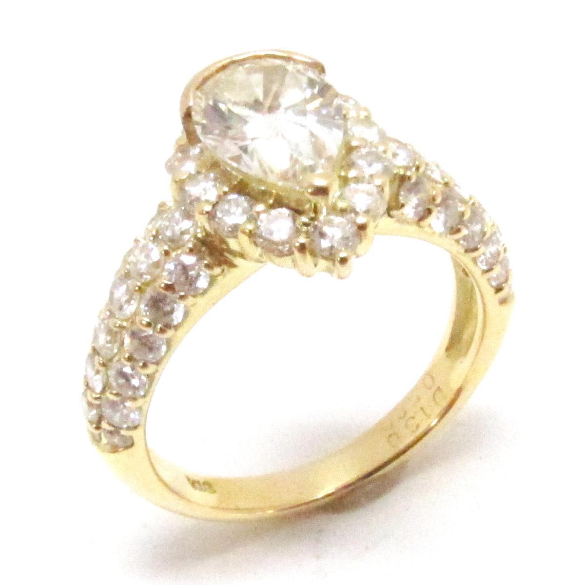 【中古】 ジュエリー ダイヤモンド リング 指輪 レディース K18YG (750) イエローゴールド x (1.30ct/0.58ct) | JEWELRY BRANDOFF ブランドオフ ブランド アクセサリー
