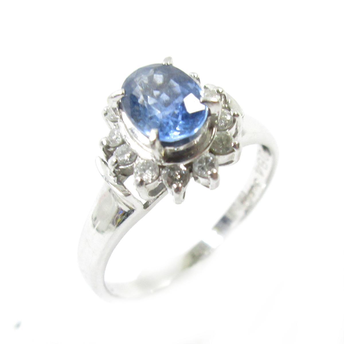 【中古】 ジュエリー サファイアリング 指輪 レディース PT900 プラチナ x サファイア0.84ct ダイヤモンド0.18ct シルバー ブルー クリアー | JEWELRY BRANDOFF ブランドオフ ブランド アクセサリー リング