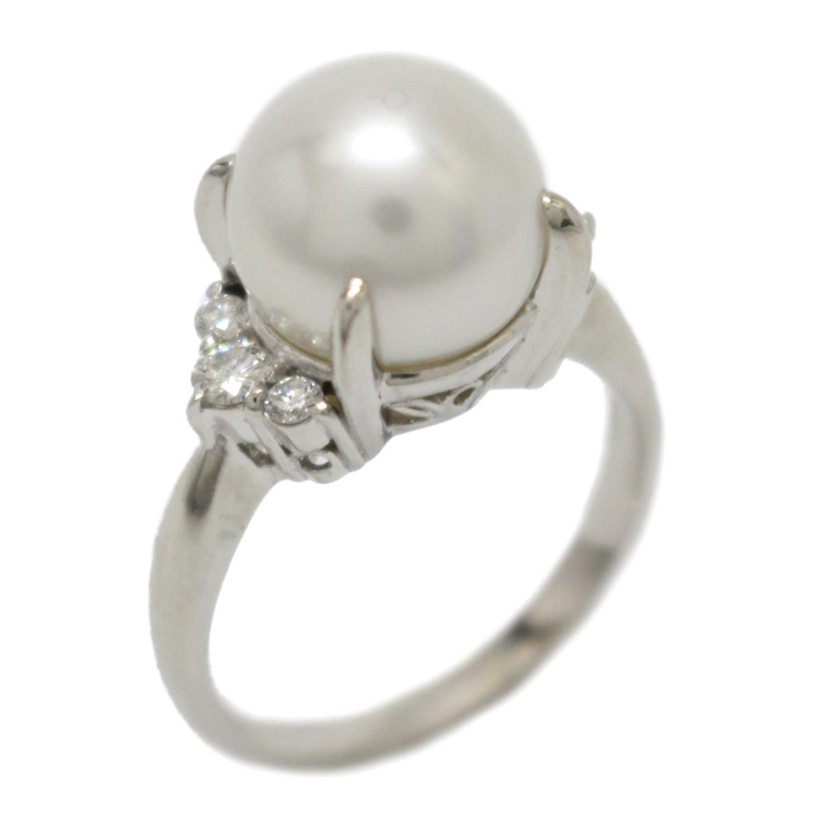 【中古】 ジュエリー パール ダイヤモンド リング 指輪 レディース PT900 プラチナ x (11mm) (0.27ct) ホワイト クリアー | JEWELRY BRANDOFF ブランドオフ ブランド アクセサリー