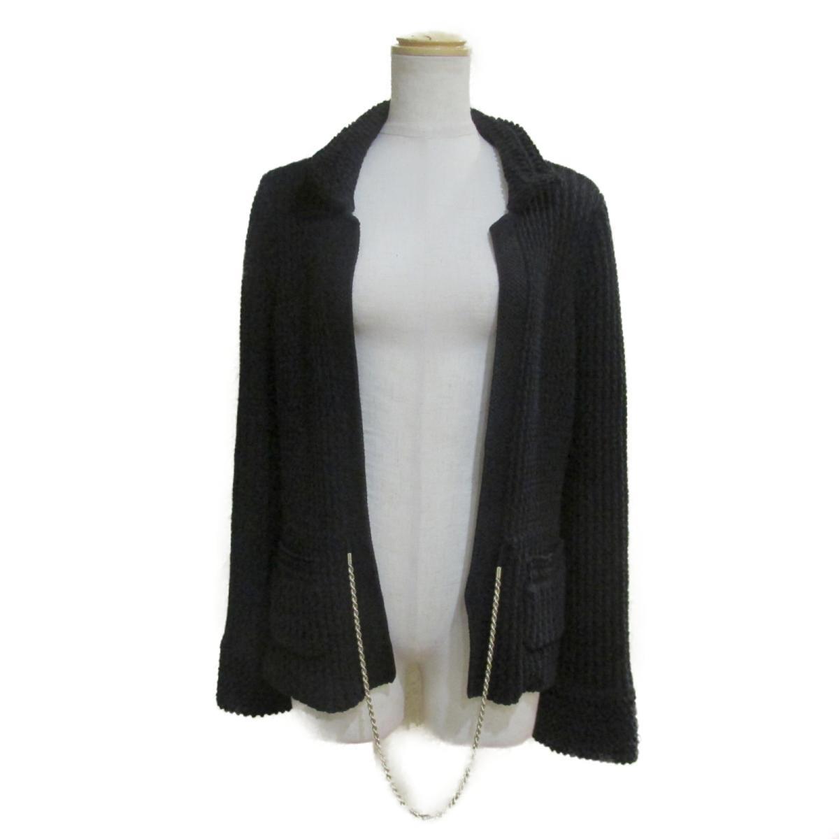 【中古】 シャネル ニット ジャケット レディース コットン100% ブラック (P40706K02995) | CHANEL BRANDOFF ブランドオフ 衣料品 衣類 ブランド アウター コート