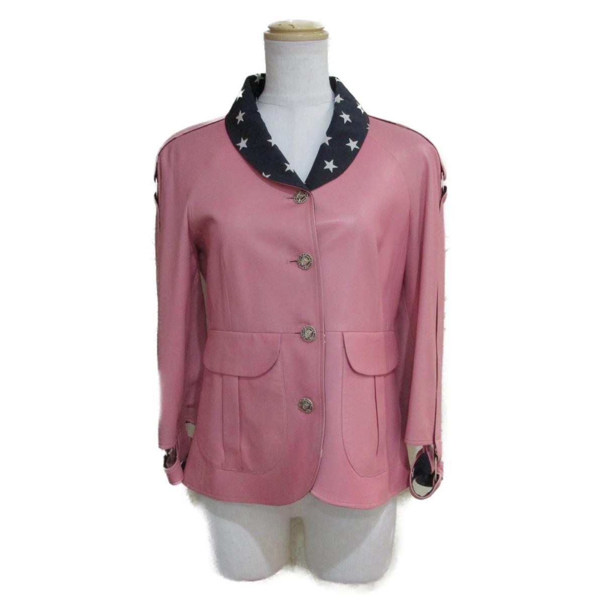 【中古】 シャネル 08P レザー ジャケット レディース ラムスキン100%/スター柄部分:シルク100% ピンク x ネイビー ホワイト (P32983W04138) | CHANEL BRANDOFF ブランドオフ 衣料品 衣類 ブランド アウター コート