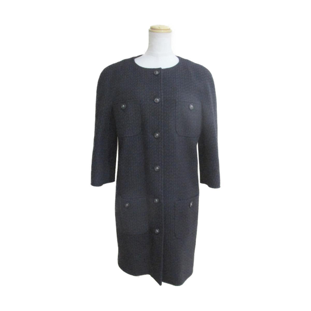 【中古】 シャネル コート レディース 60%ウール 32%シルク 4%ナイロン 2%アンゴラ 2%スパンデックス ブラック ネイビー (P49853V32761) | CHANEL BRANDOFF ブランドオフ 衣料品 衣類 ブランド アウター ジャケット
