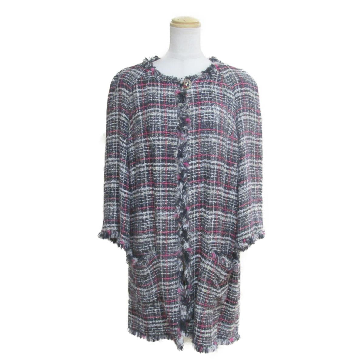 【中古】 シャネル 07P ツイード コート ジャケット レディース コットン レーヨン ナイロン ウール リネン アクリル ネイビー ホワイト ピンク (P30565W03872) | CHANEL BRANDOFF ブランドオフ 衣料品 衣類 ブランド アウター