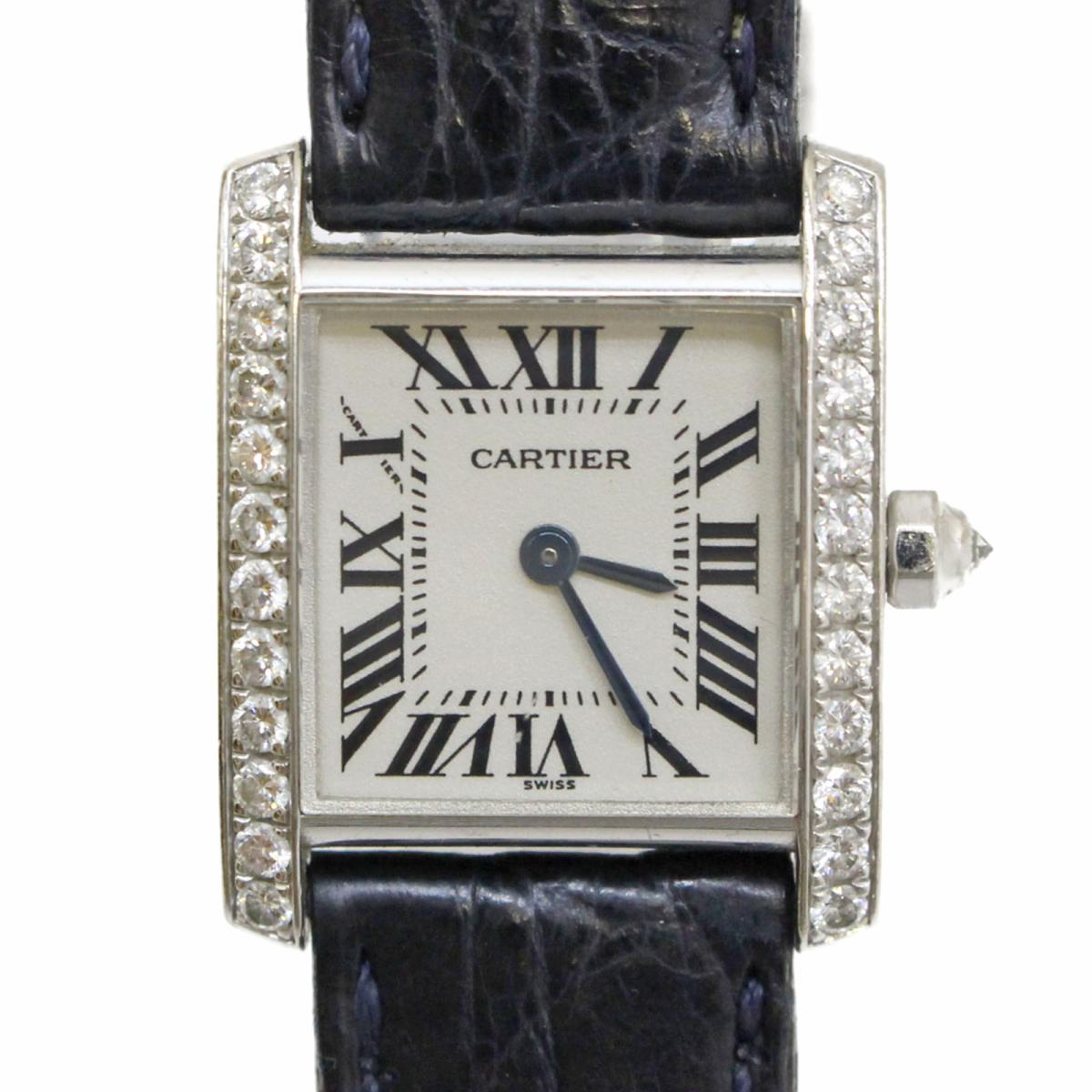 【中古】 カルティエ タンクフランセーズSM サイドダイヤ 時計 ウォッチ レディース K18WG (750) ホワイトゴールド ダイヤ レザーベルト | Cartier BRANDOFF ブランドオフ ブランド ブランド時計 ブランド腕時計 腕時計