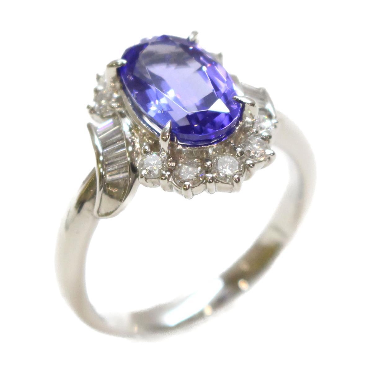 【中古】 ジュエリー リング 指輪 レディース PT900 プラチナ x タンザナイト ダイヤモンド ブルー | JEWELRY BRANDOFF ブランドオフ ブランド アクセサリー