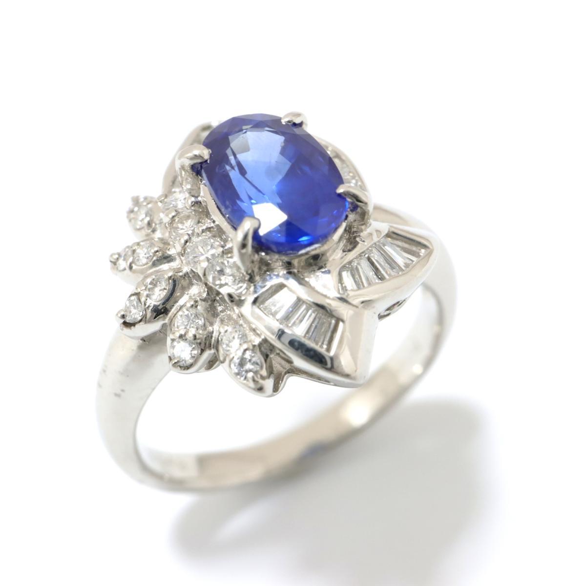【中古】 ジュエリー サファイア リング 指輪 レディース PT900 プラチナ x ダイヤモンド ブルー クリアー シルバー   JEWELRY BRANDOFF ブランドオフ ブランド アクセサリー