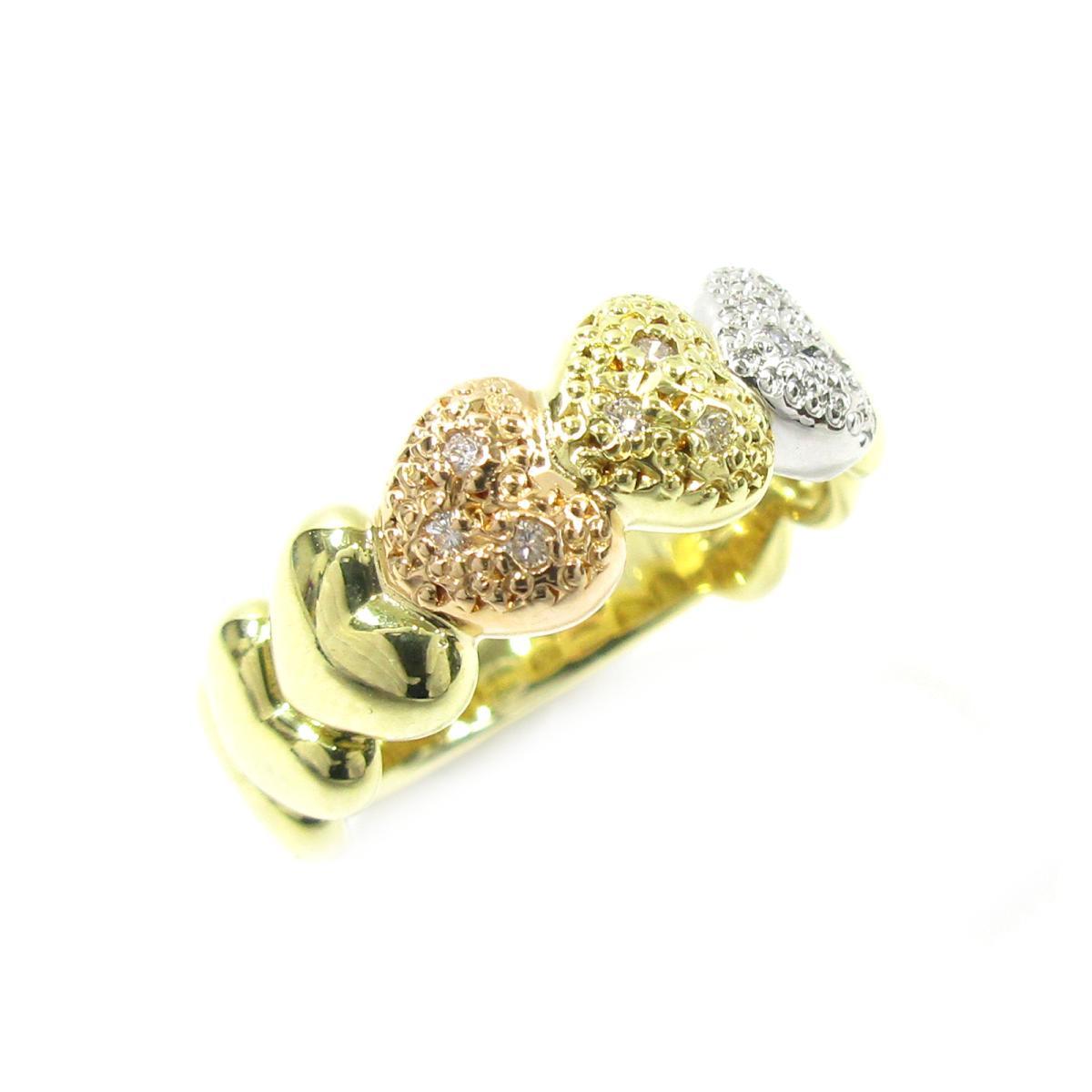 【中古】 ジュエリー ダイヤモンドリング 指輪 レディース K18YG (750) イエローゴールド x K18PG PT900 ダイヤモンド ゴールド ピンクゴールド シルバー クリアー | JEWELRY BRANDOFF ブランドオフ ブランド アクセサリー リング