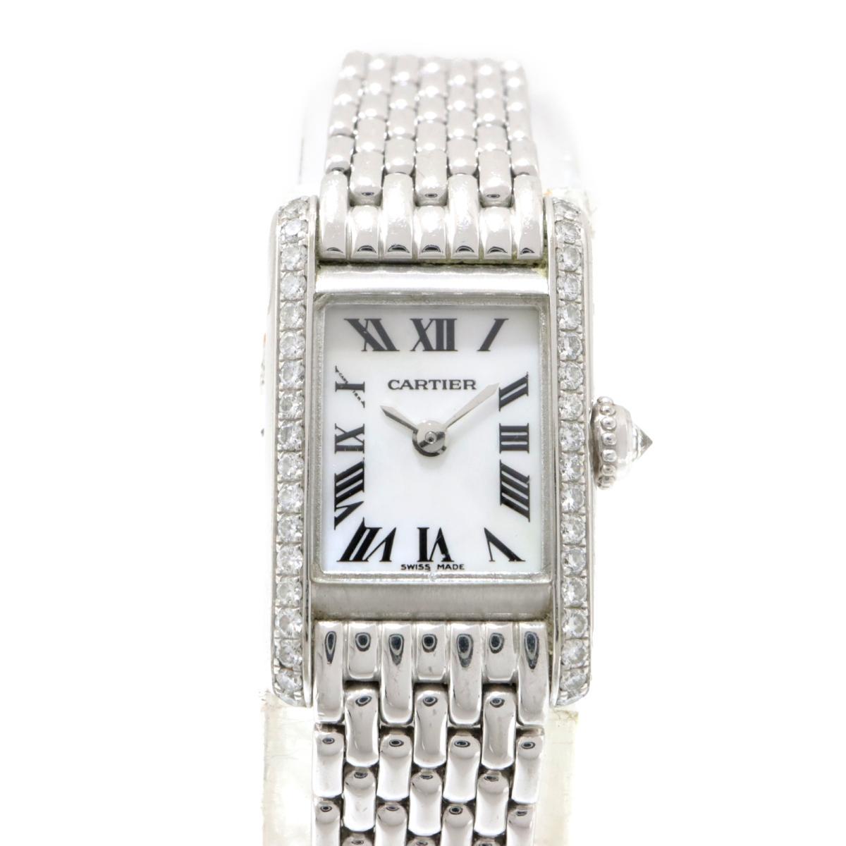 ≪期間限定≫メルマガ登録でクーポンGET! 【中古】 カルティエ ミニタンク アジア限定 1999年 腕時計 レディース K18WG (750)ホワイトゴールド ダイヤモンド シルバー (WB2032U3) | Cartier BRANDOFF ブランドオフ ブランド ブランド時計 ブランド腕時計 時計
