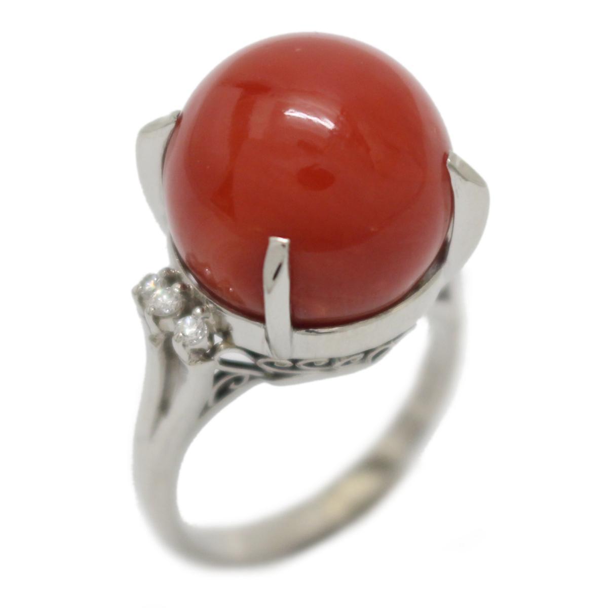 【中古】 ジュエリー サンゴ ダイヤモンド リング 指輪 レディース PT900 プラチナ x (14.19mm) (0.10ct) | JEWELRY BRANDOFF ブランドオフ ブランド アクセサリー