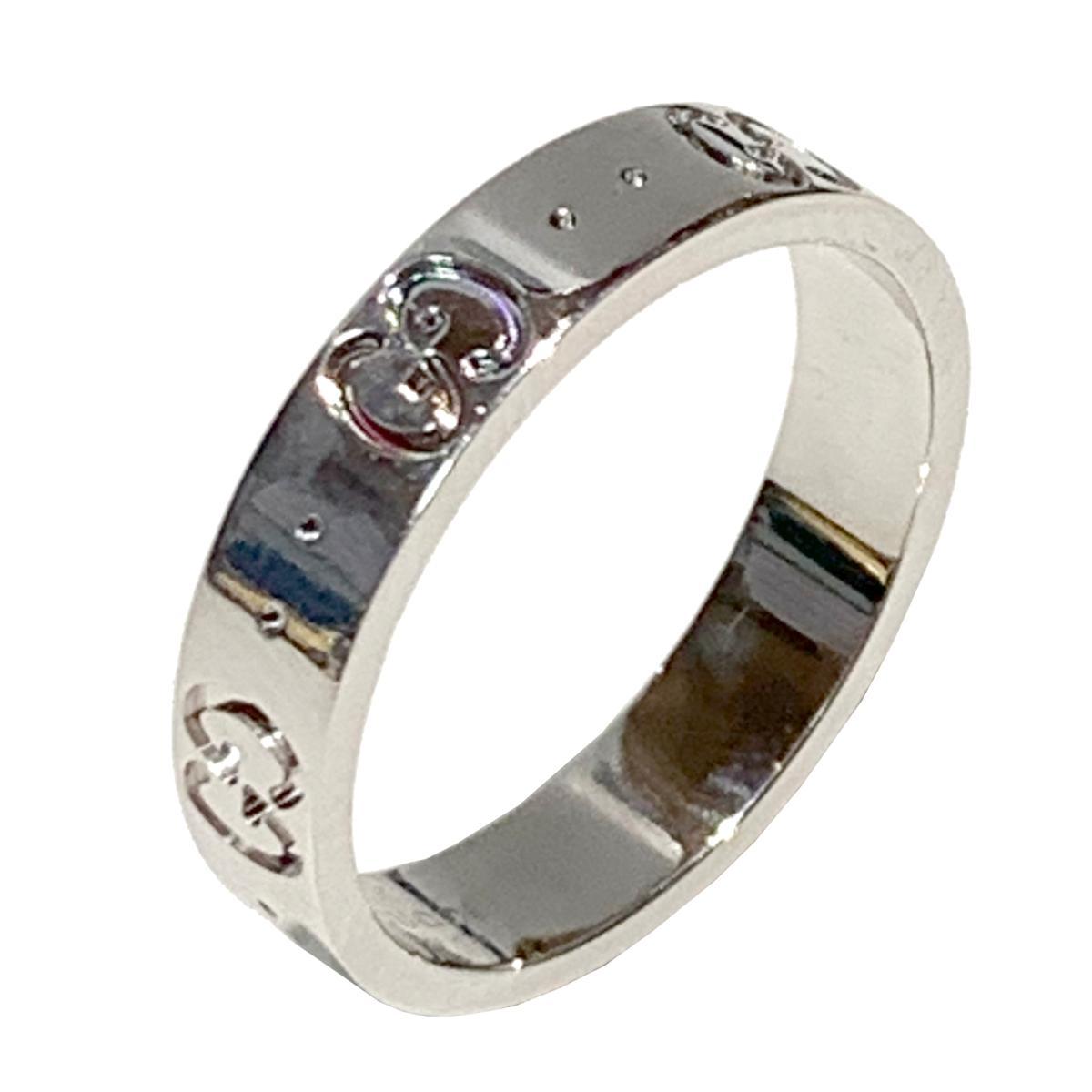 【中古】 グッチ アイコン リング 指輪 メンズ レディース K18WG (750) ホワイトゴールド シルバー | GUCCI BRANDOFF ブランドオフ ブランド ジュエリー アクセサリー