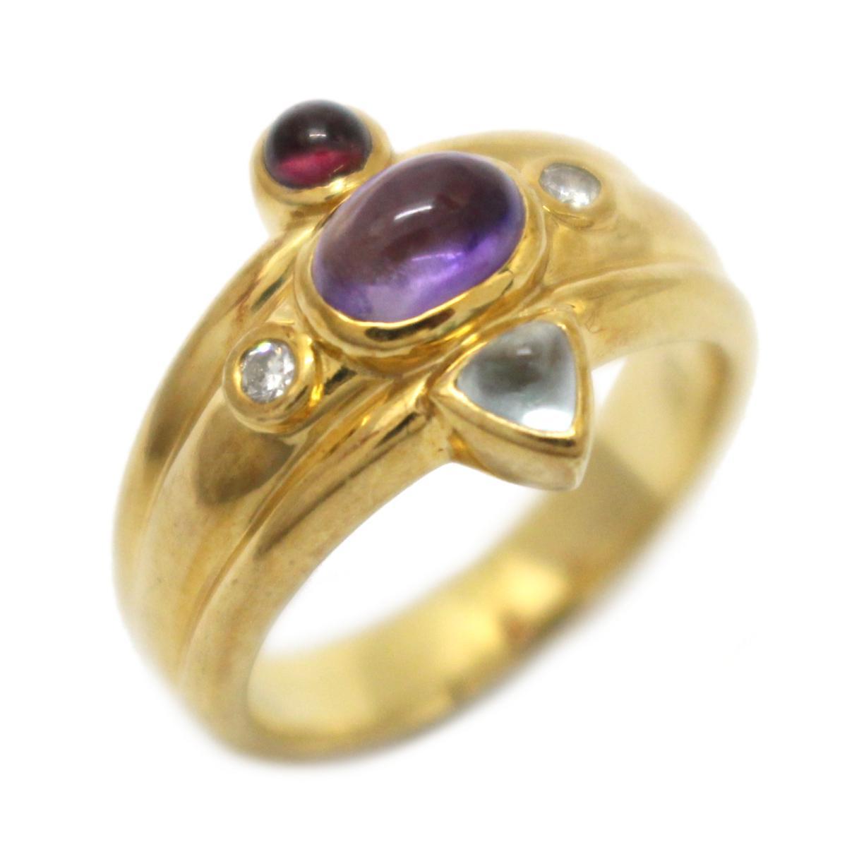【中古】 ジュエリー マルチストーン リング 指輪 レディース K18YG (750) イエローゴールド x アメジスト ブルートパーズ トルマリン ダイヤモンド | JEWELRY BRANDOFF ブランドオフ ブランド アクセサリー