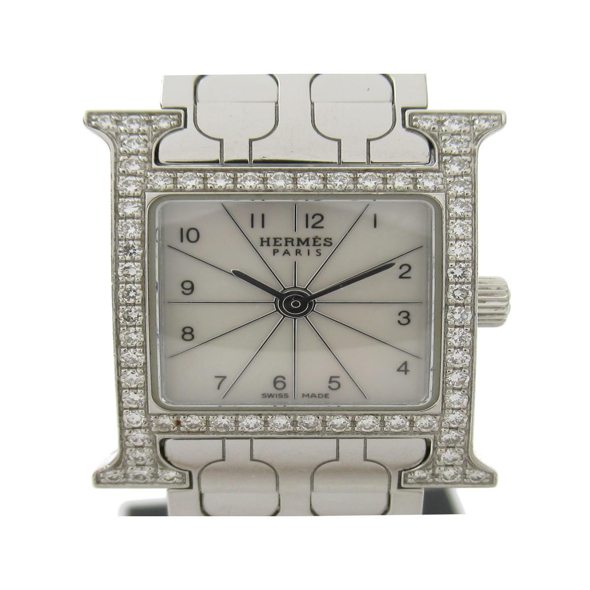 ≪期間限定≫メルマガ登録でクーポンGET! 【中古】 エルメス Hウォッチ ミニ ダイヤベゼル ウォッチ 腕時計 レディース ステンレススチール (SS) ダイヤモンド (HH1.130) | HERMES BRANDOFF ブランドオフ ブランド ブランド時計 ブランド腕時計 時計