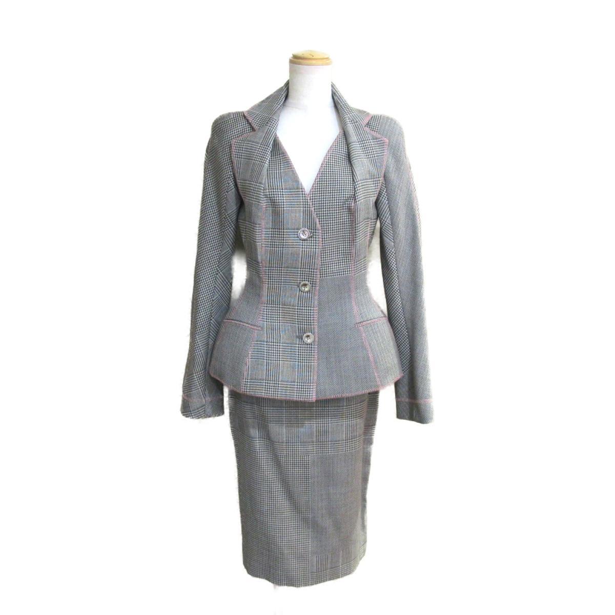 【中古】 クリスチャン・ディオール スーツ レディース ウール ホワイト x ブラック ピンク | Dior BRANDOFF ブランドオフ 衣料品 衣類 ブランド