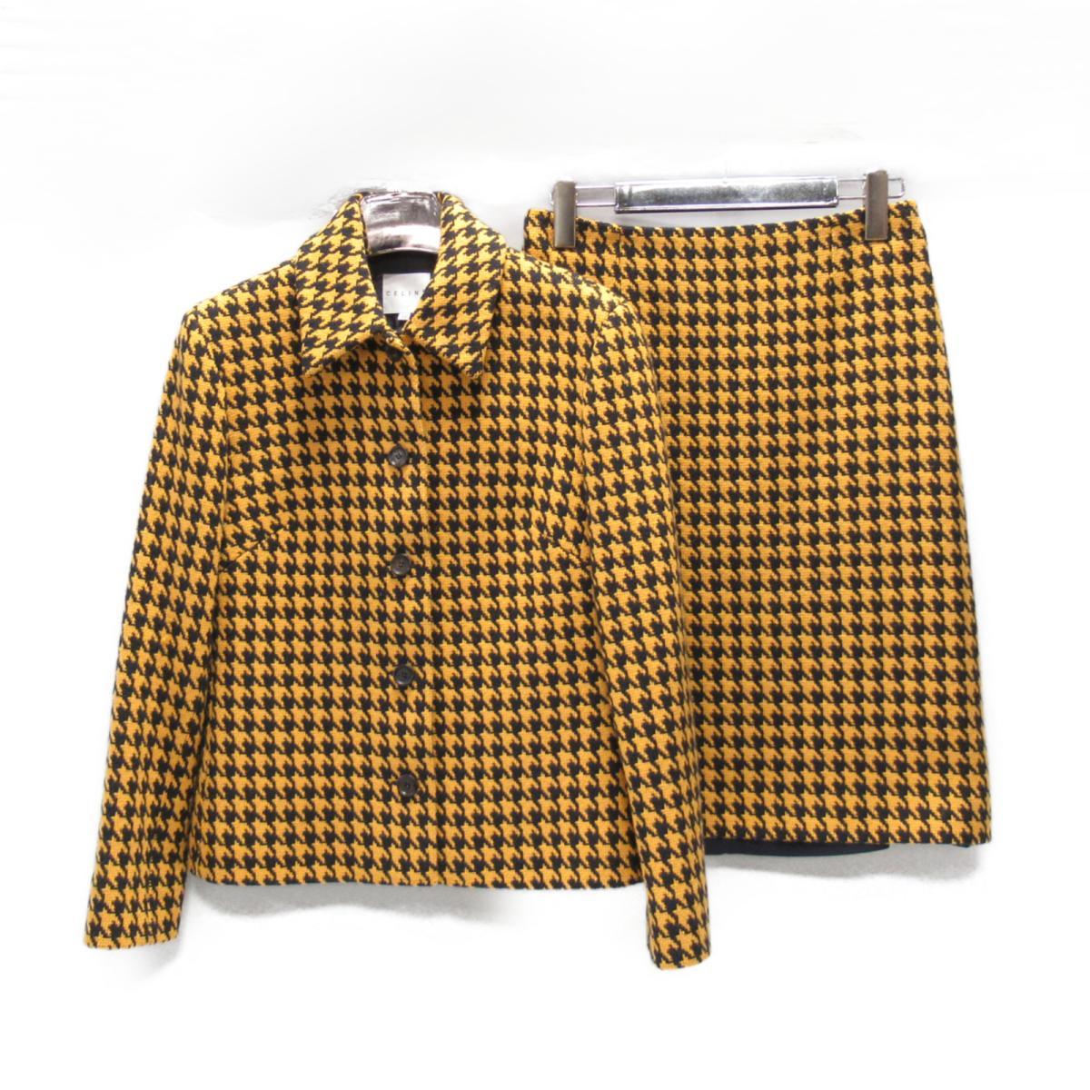 【中古】 セリーヌ セットアップ レディース ウール イエロー x ブラック | CELINE BRANDOFF ブランドオフ 衣料品 衣類 ブランド スーツ