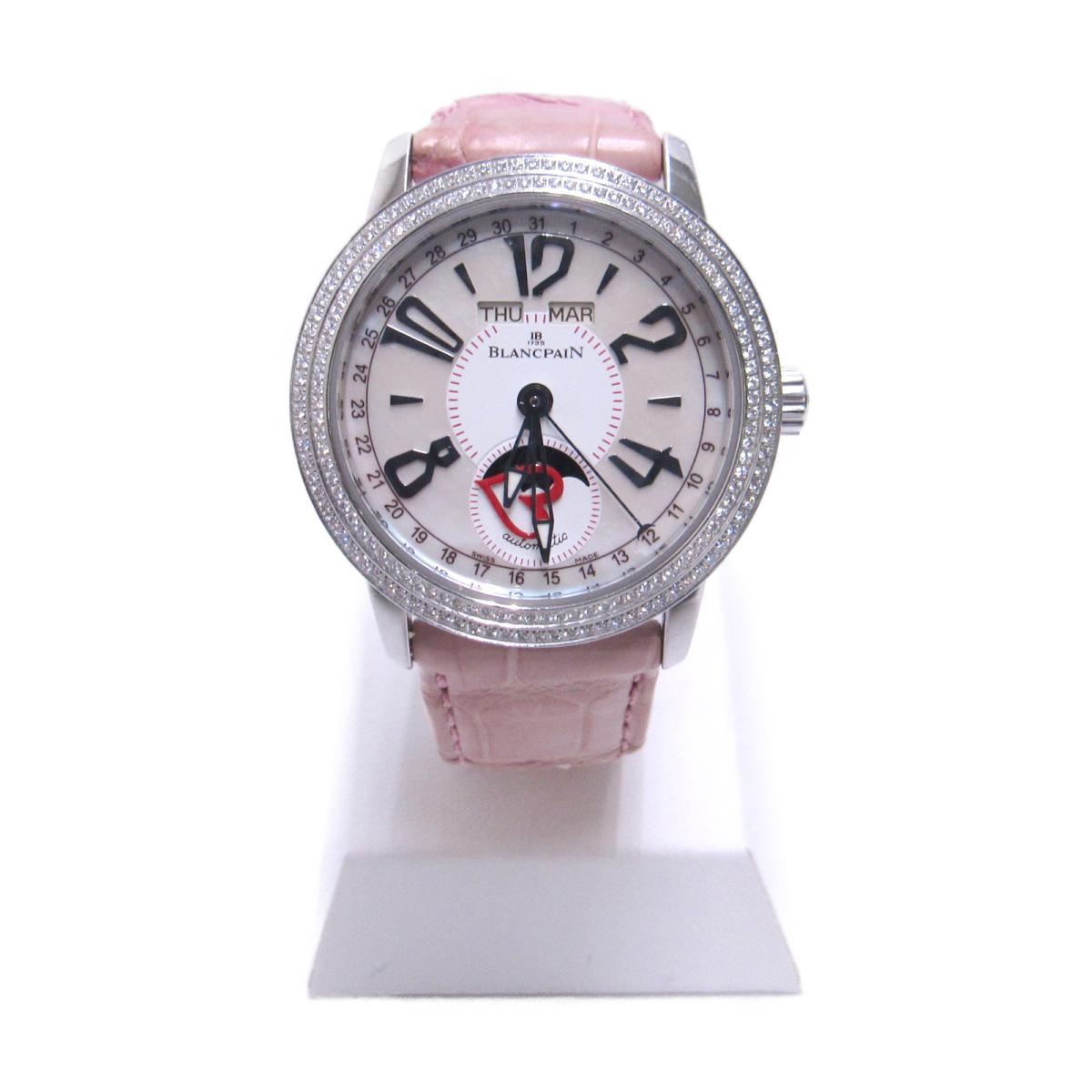 【中古】 ブランパン レマントリプルカレンダームーンフェイズ 腕時計 レディース ステンレススチール (SS) クロコ革ベルト ダイヤモンド ピンク シルバー | BLANCPAIN BRANDOFF ブランドオフ ブランド ブランド時計 ブランド腕時計