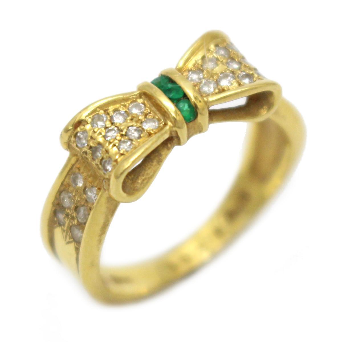 【中古】 ジュエリー エメラルド ダイヤモンド リング 指輪 レディース K18YG (750) イエローゴールド x グリーン クリアー | JEWELRY BRANDOFF ブランドオフ ブランド アクセサリー