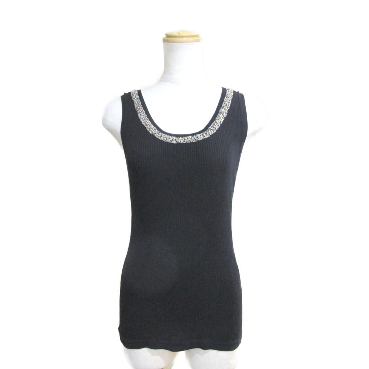 【中古】 シャネル タンクトップ レディース コットン100% ブラック x ベージュ ゴールド (P38540K02643) | CHANEL BRANDOFF ブランドオフ 衣料品 衣類 ブランド