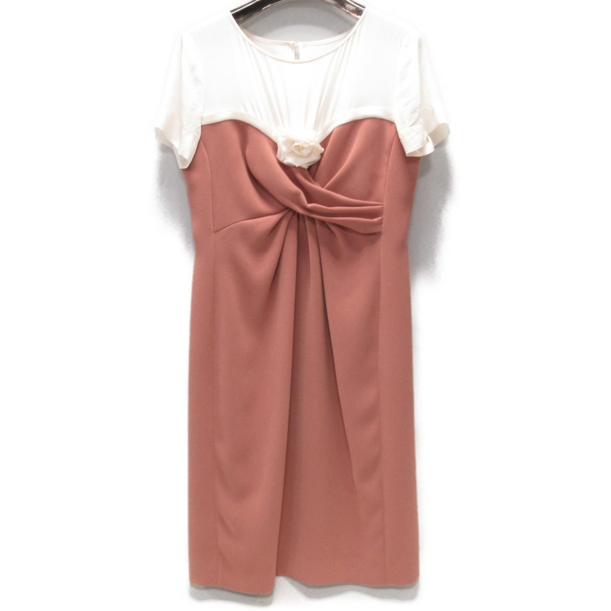 【中古】 モスキーノ ワンピース レディース ポリエステル ピンク x アイボリー | MOSCHINO BRANDOFF ブランドオフ 衣料品 衣類 ブランド