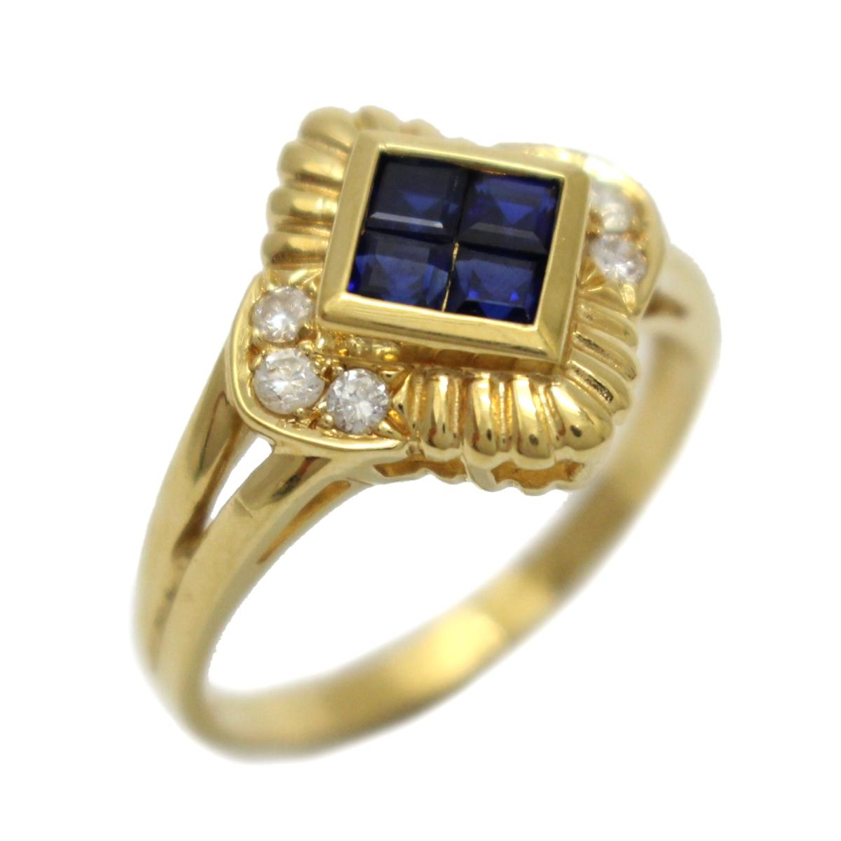 【中古】 ジュエリー サファイア ダイヤモンド リング 指輪 レディース K18YG (750) イエローゴールド x ブルー クリアー   JEWELRY BRANDOFF ブランドオフ ブランド アクセサリー