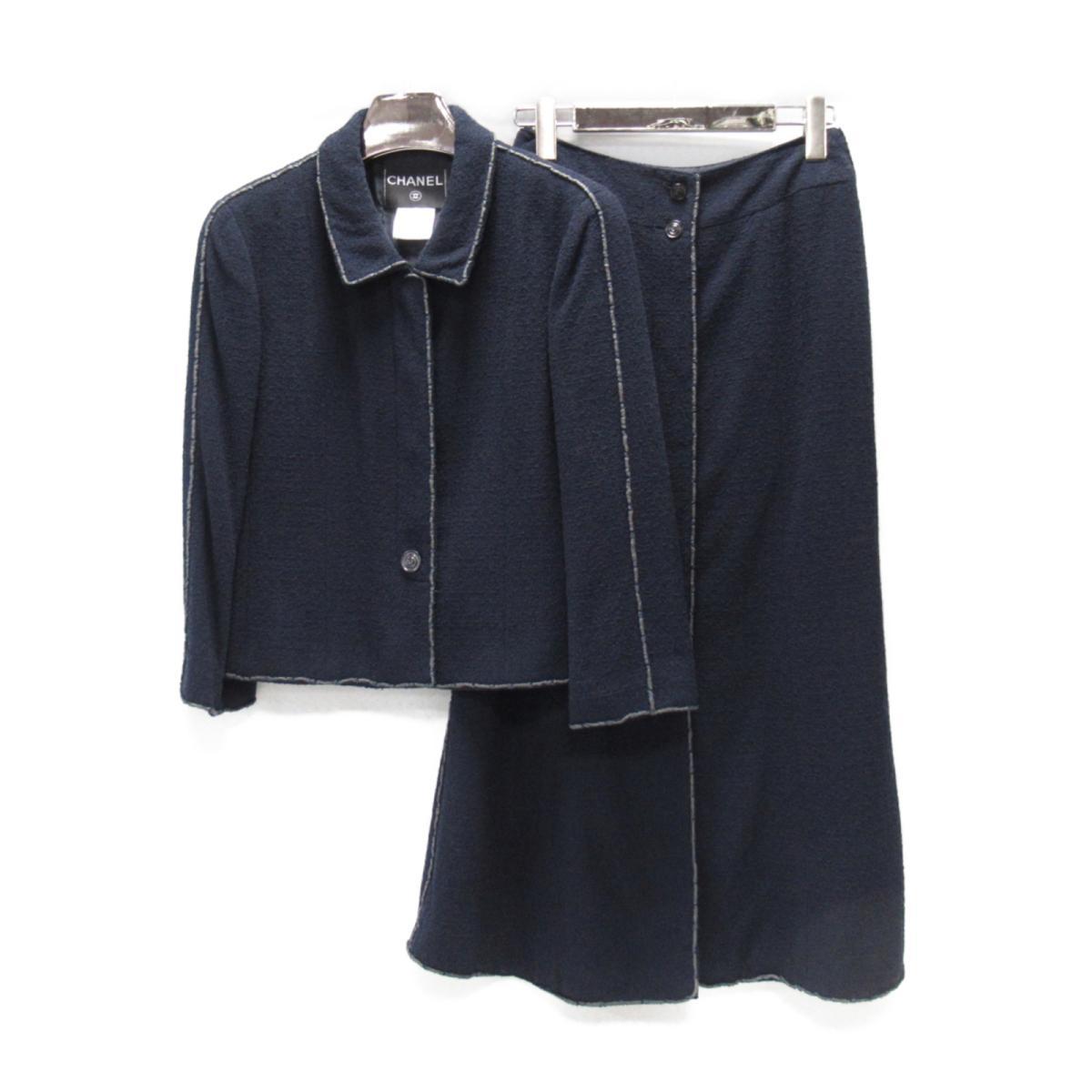 【中古】 シャネル セットアップ レディース ウール (85%) x ナイロン (15%) ネイビー | CHANEL BRANDOFF ブランドオフ 衣料品 衣類 ブランド