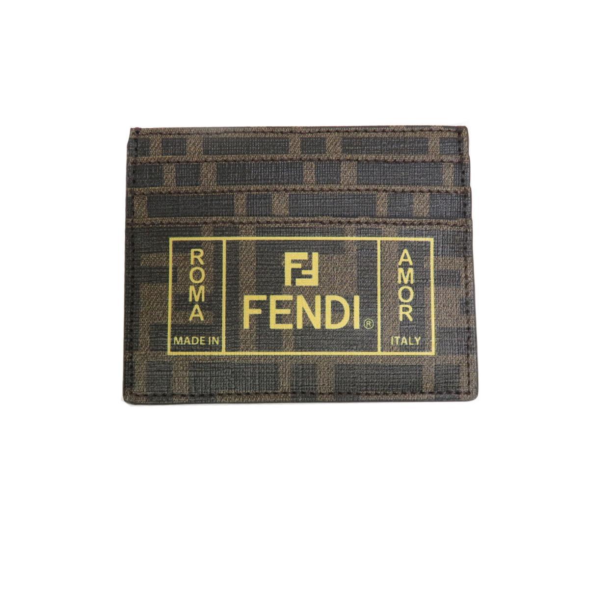 【中古】 フェンディ ファブリック カードケース メンズ レディース 塩化ビニールコーティング ブラウン (7M0164A7SBF17HW)   FENDI BRANDOFF ブランドオフ ブランド 定期入れ パスケース