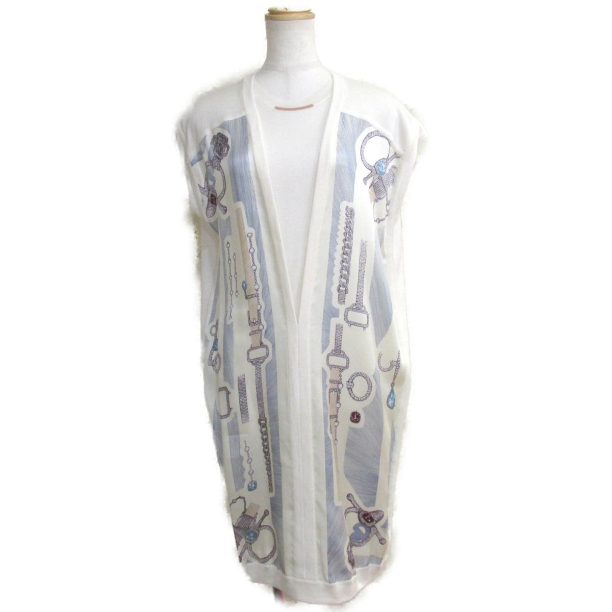 【中古】 エルメス ワンピース レディース プリント部分:シルク100%//ニット部分:カシミア% x シルク50% ホワイト オフホワイト ブルー ネイビー | HERMES BRANDOFF ブランドオフ 衣料品 衣類 ブランド