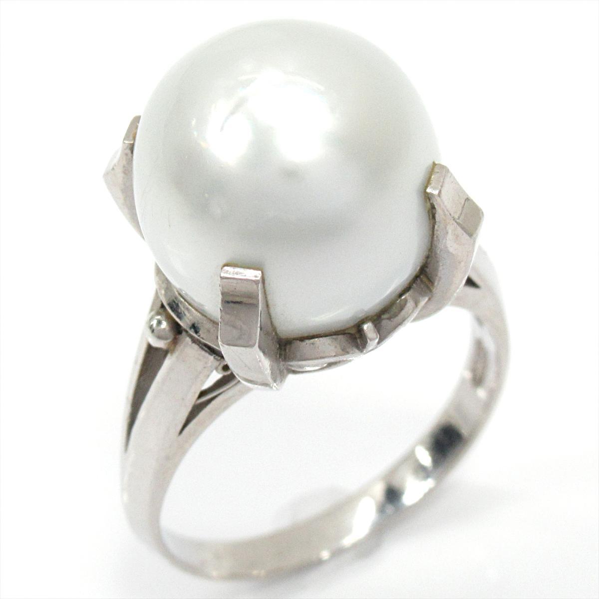 【中古】ジュエリー パール リング 指輪 レディース PT900 プラチナ x パール