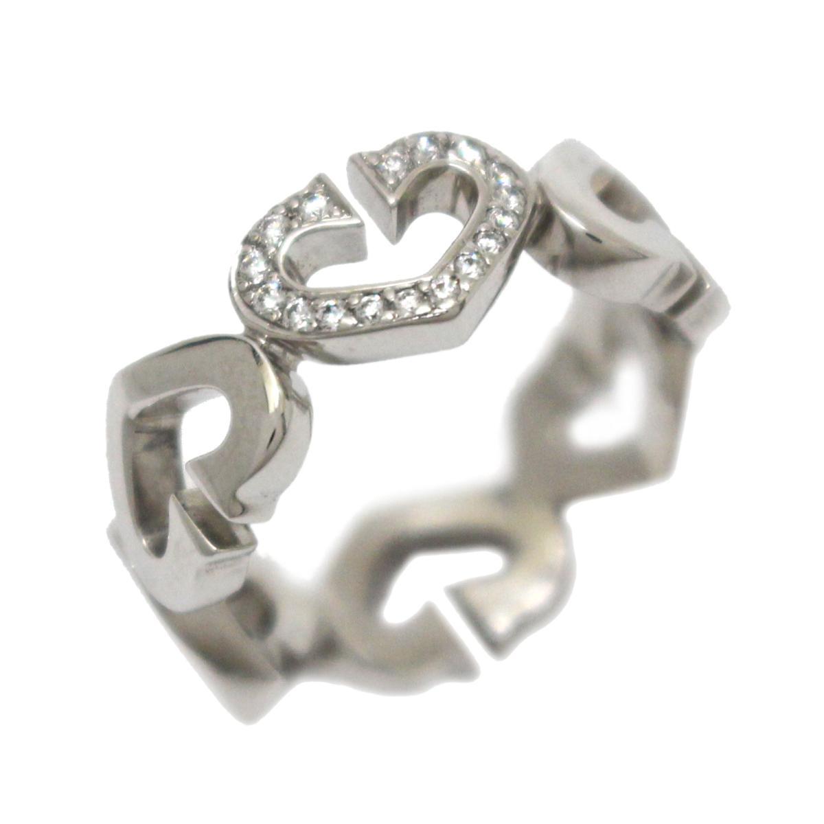 【中古】 カルティエ Cハート ダイヤモンド リング 指輪 レディース K18WG (750) ホワイトゴールド x | Cartier BRANDOFF ブランドオフ ブランド ジュエリー アクセサリー