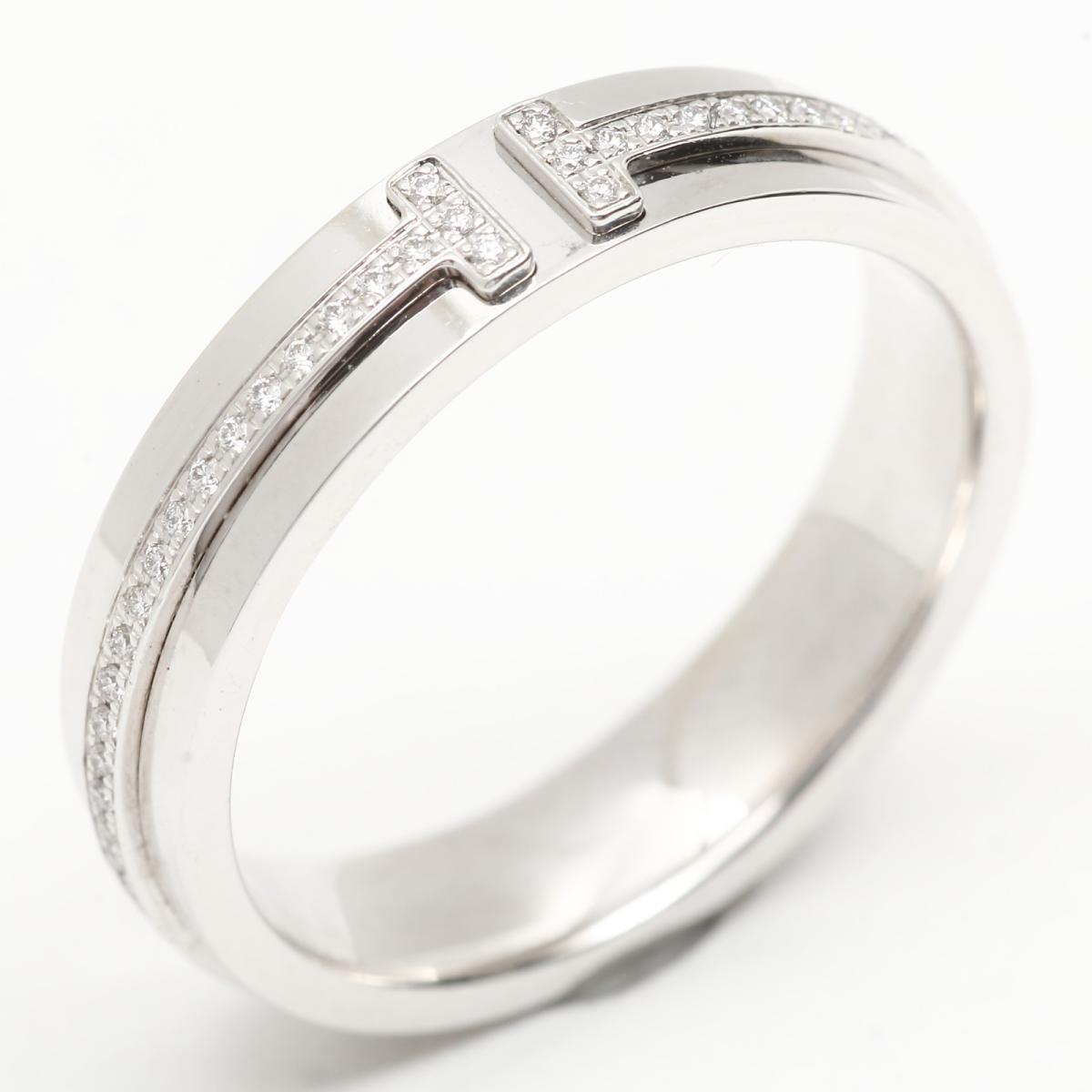 【中古】 ティファニー Tツーナロー ダイヤモンド リング 指輪 レディース K18WG (750) ホワイトゴールド x | TIFFANY&CO BRANDOFF ブランドオフ ブランド ジュエリー アクセサリー
