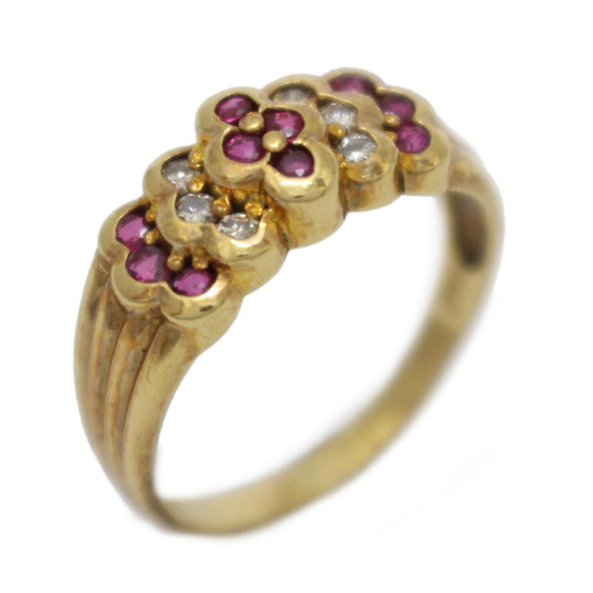 【中古】 ジュエリー ルビー ダイヤモンド リング 指輪 レディース K18YG (750) イエローゴールド x レッド クリアー | JEWELRY BRANDOFF ブランドオフ ブランド アクセサリー