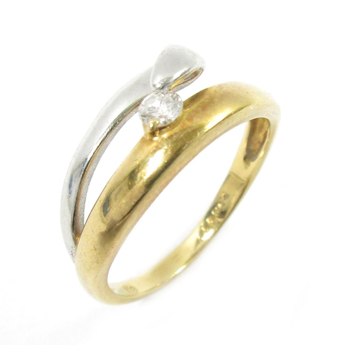 【中古】 ジュエリー ダイヤモンドリング 指輪 レディース K18YG (750) イエローゴールド x PT900 ダイヤモンド ゴールド シルバー クリアー | JEWELRY BRANDOFF ブランドオフ ブランド アクセサリー リング